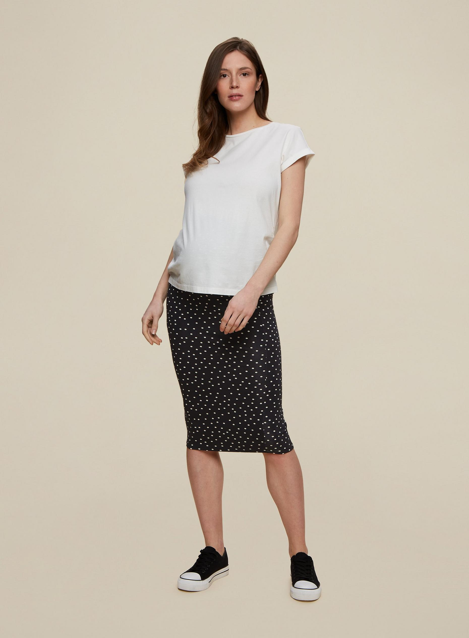 Maternity Black Spot Print Midi Skirt