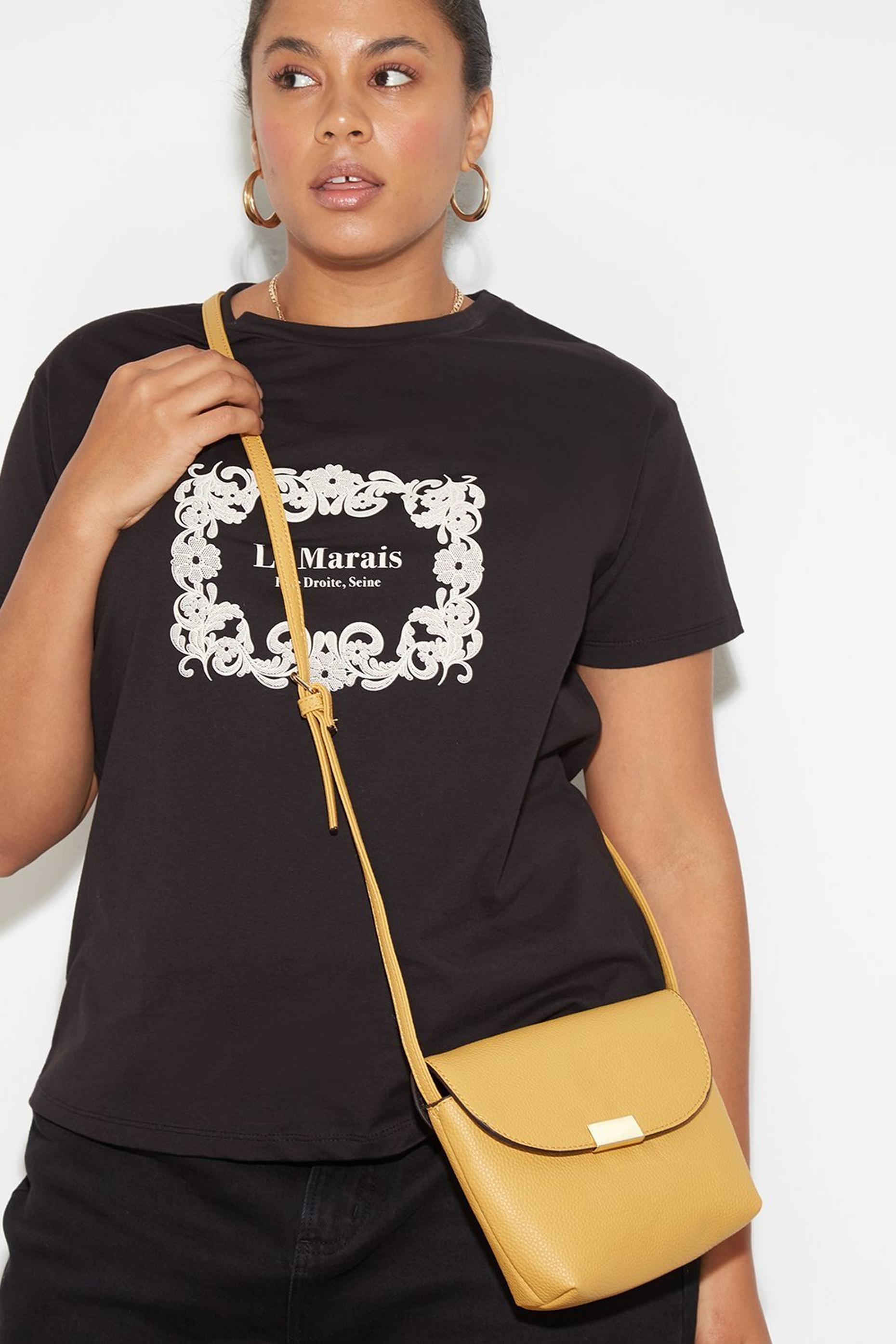 Ochre Metal Tab Crossbody Bag