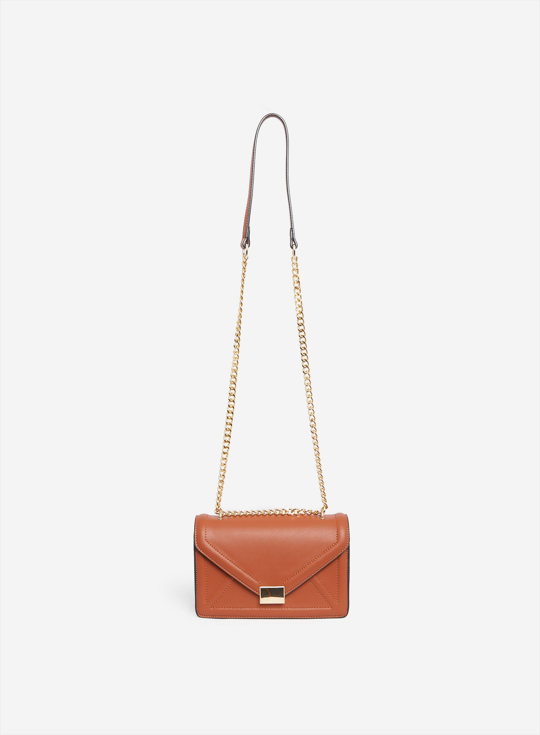 Tan Envelope Boxy Cross Body Bag