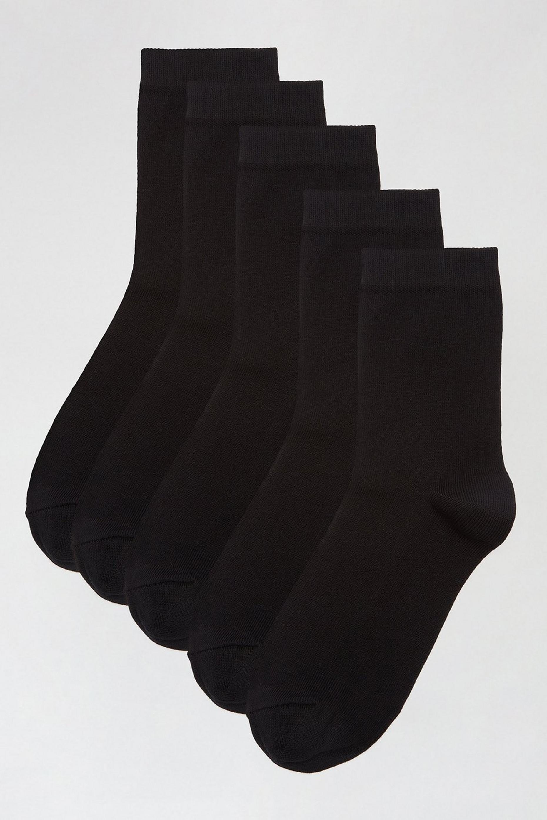 5 Pack Black Plain Ankle Socks