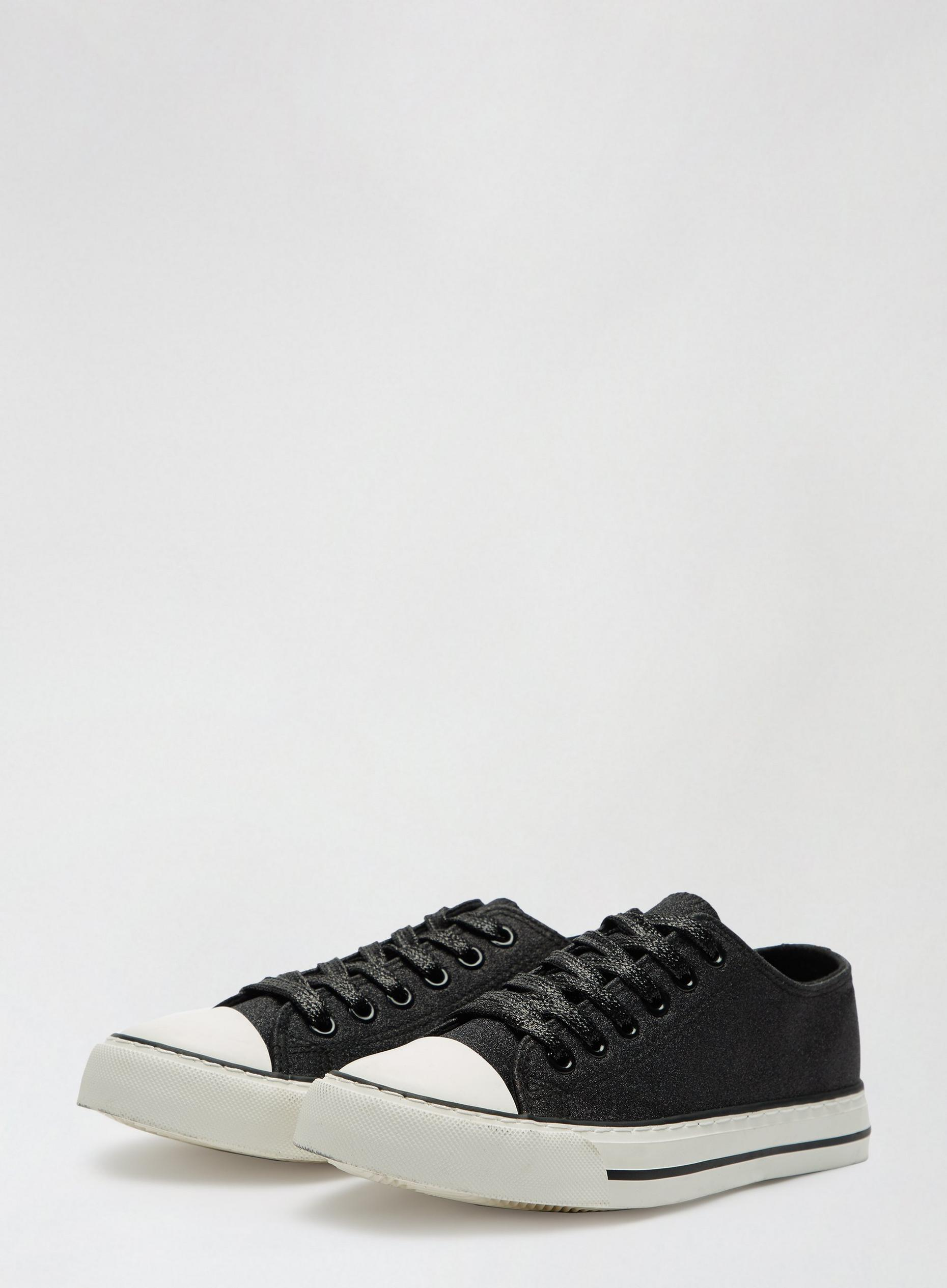 Black Icons Shimmer Lace Up Trainer