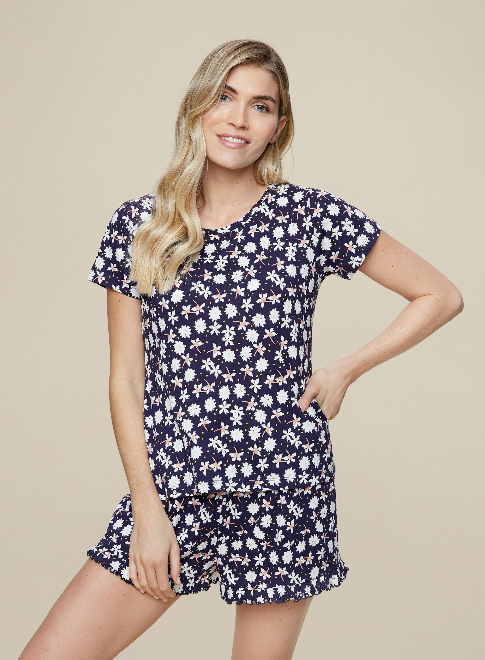 Navy Floral Print Short Sleeve Set