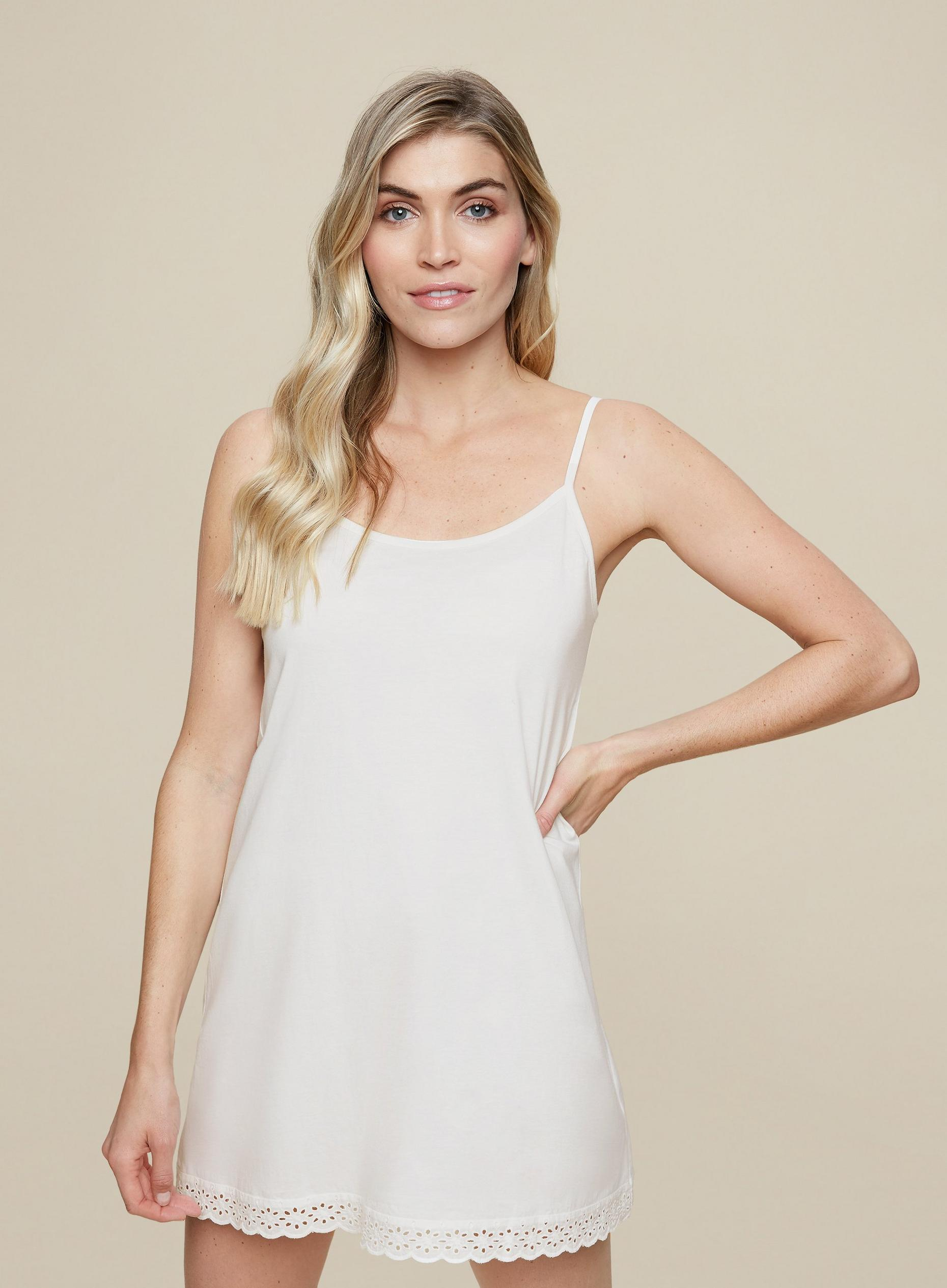 White Broderie Trim Night Dress