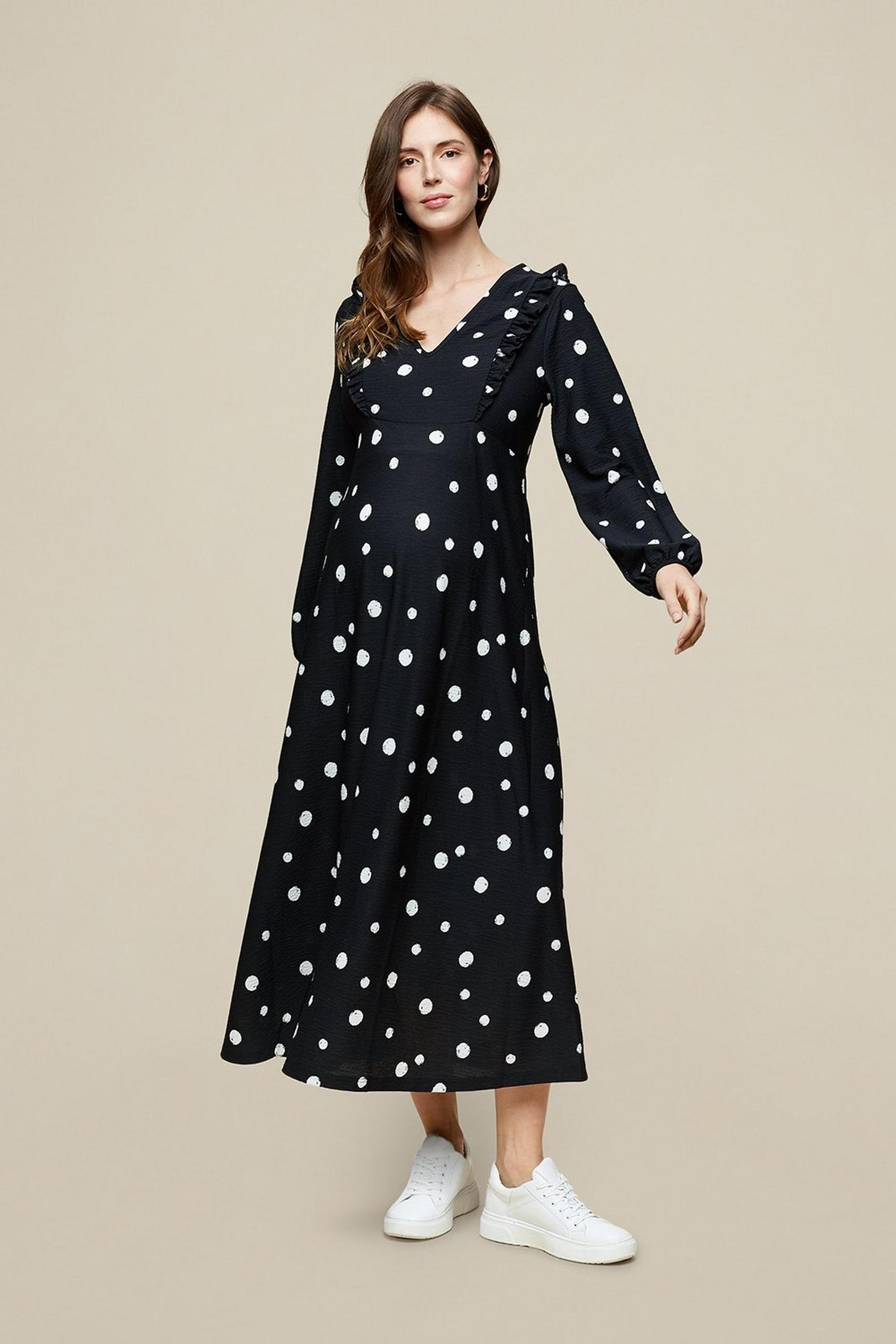 Maternity Black Spot Print Maxi Dress