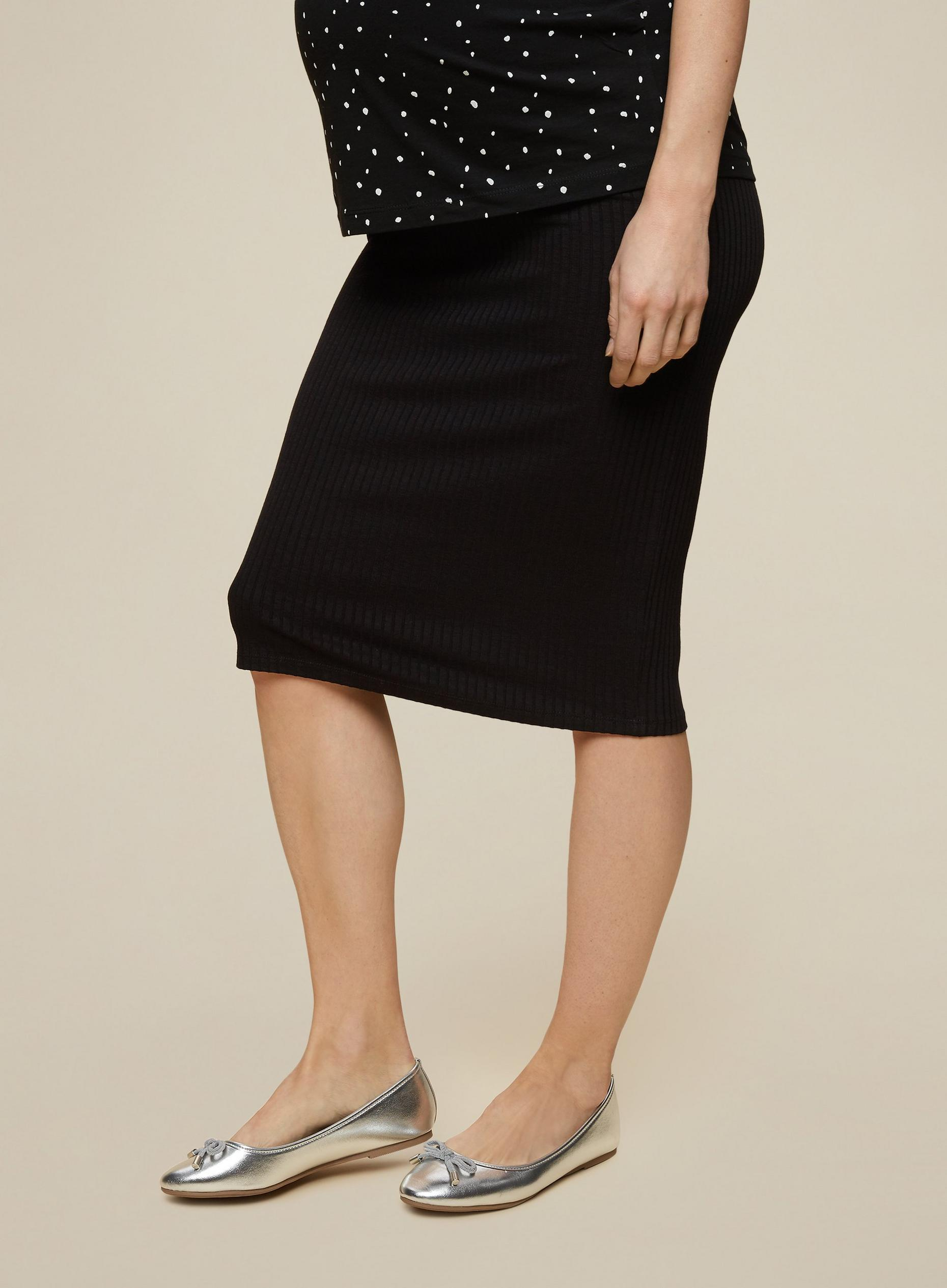 Maternity Black Under Bump Rib Skirt