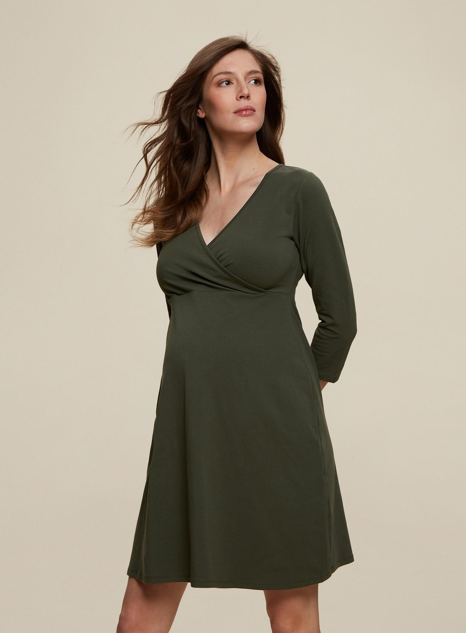 Maternity Khaki Wrap Midi Dress