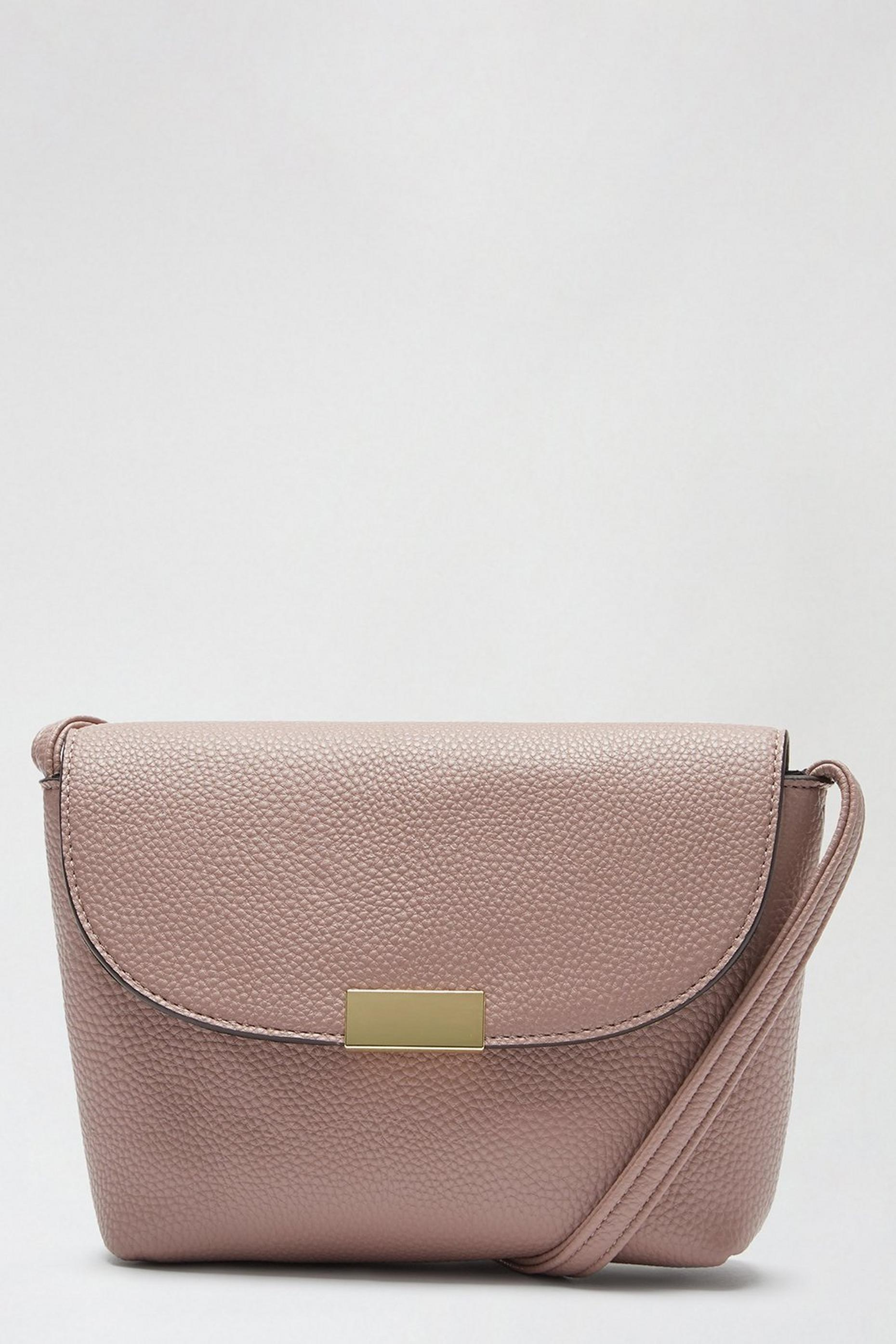 Blush Metal Tab Crossbody Bag