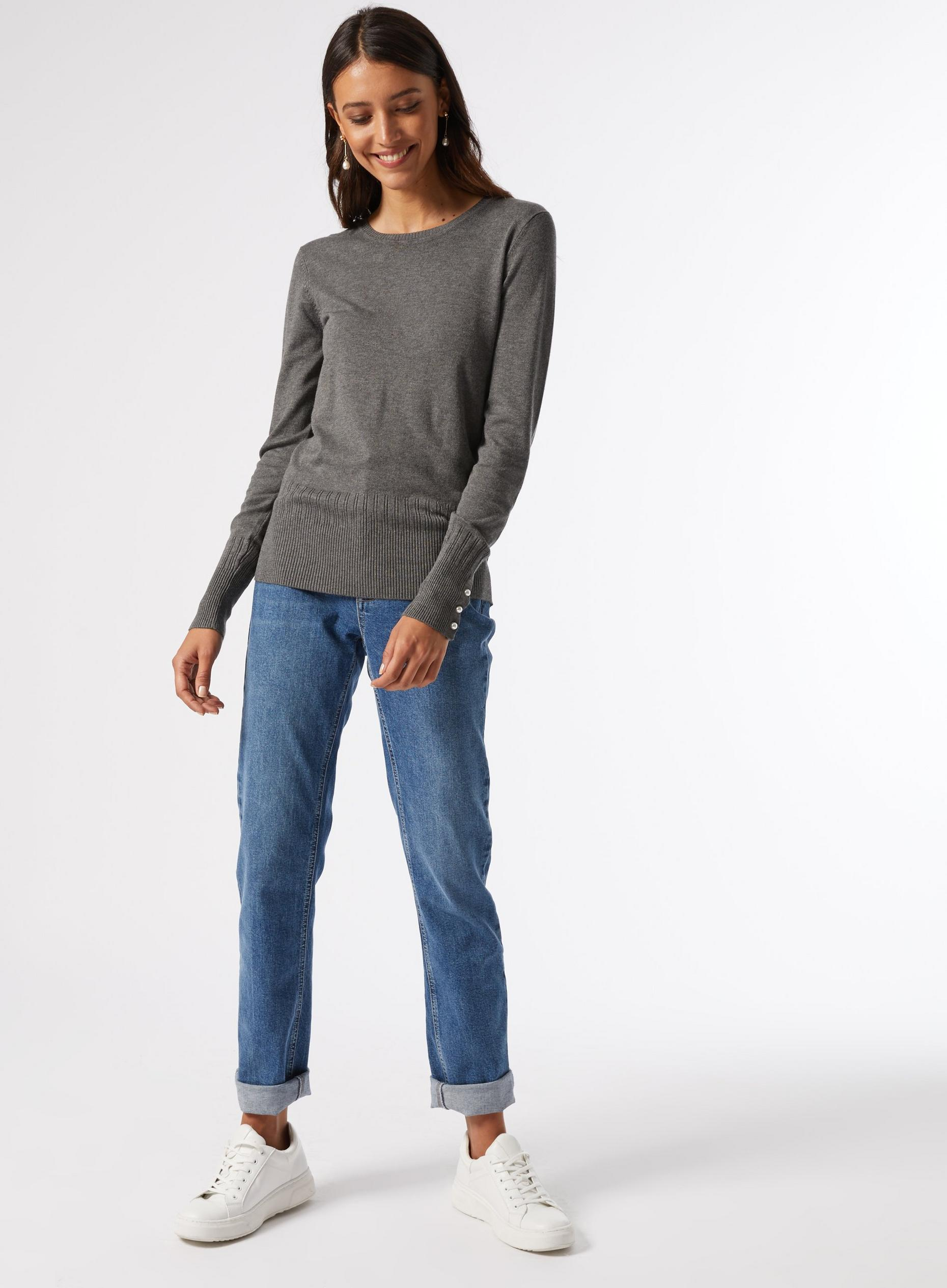 Grey Pearl Cuff Crew Neck Jumper