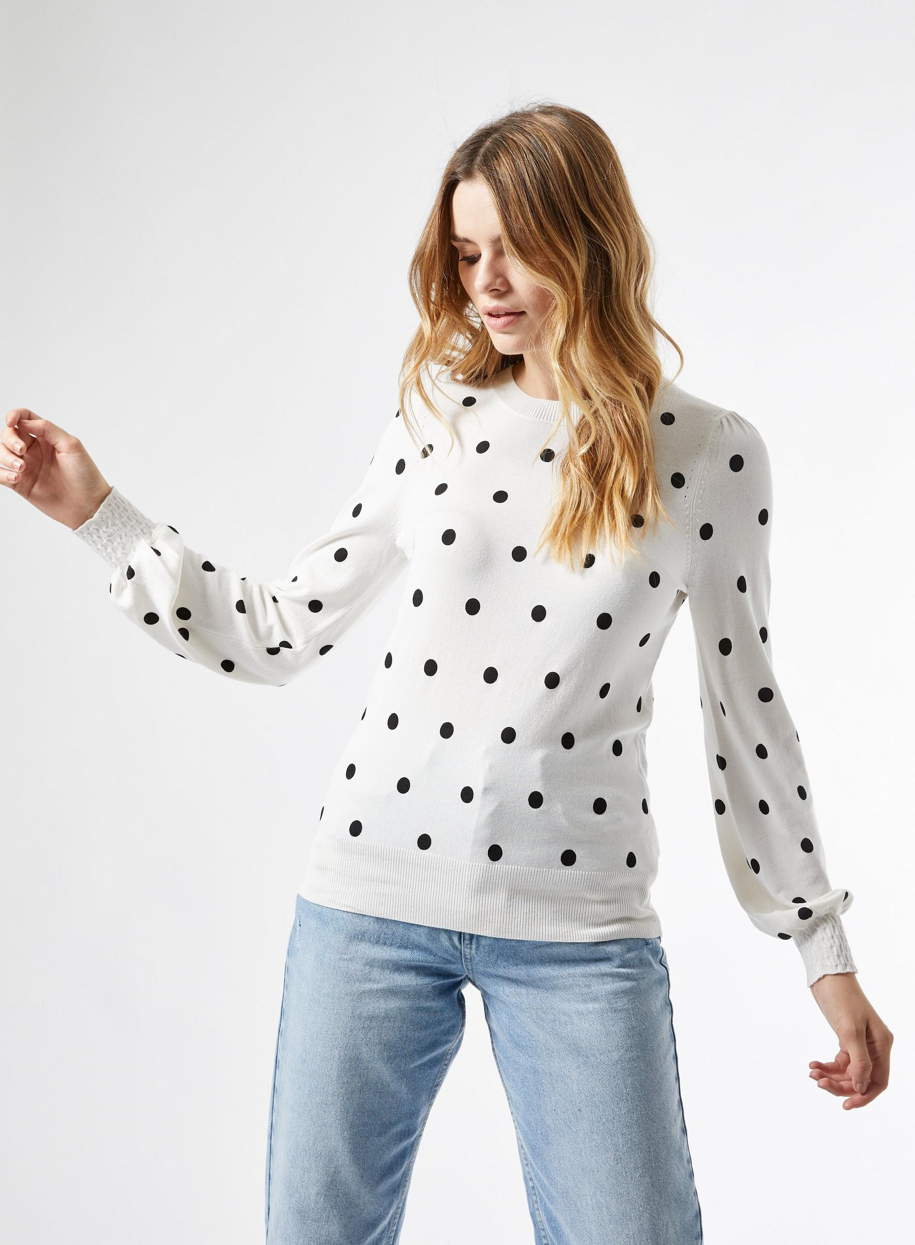White Spot Puff Sleeve Jumper