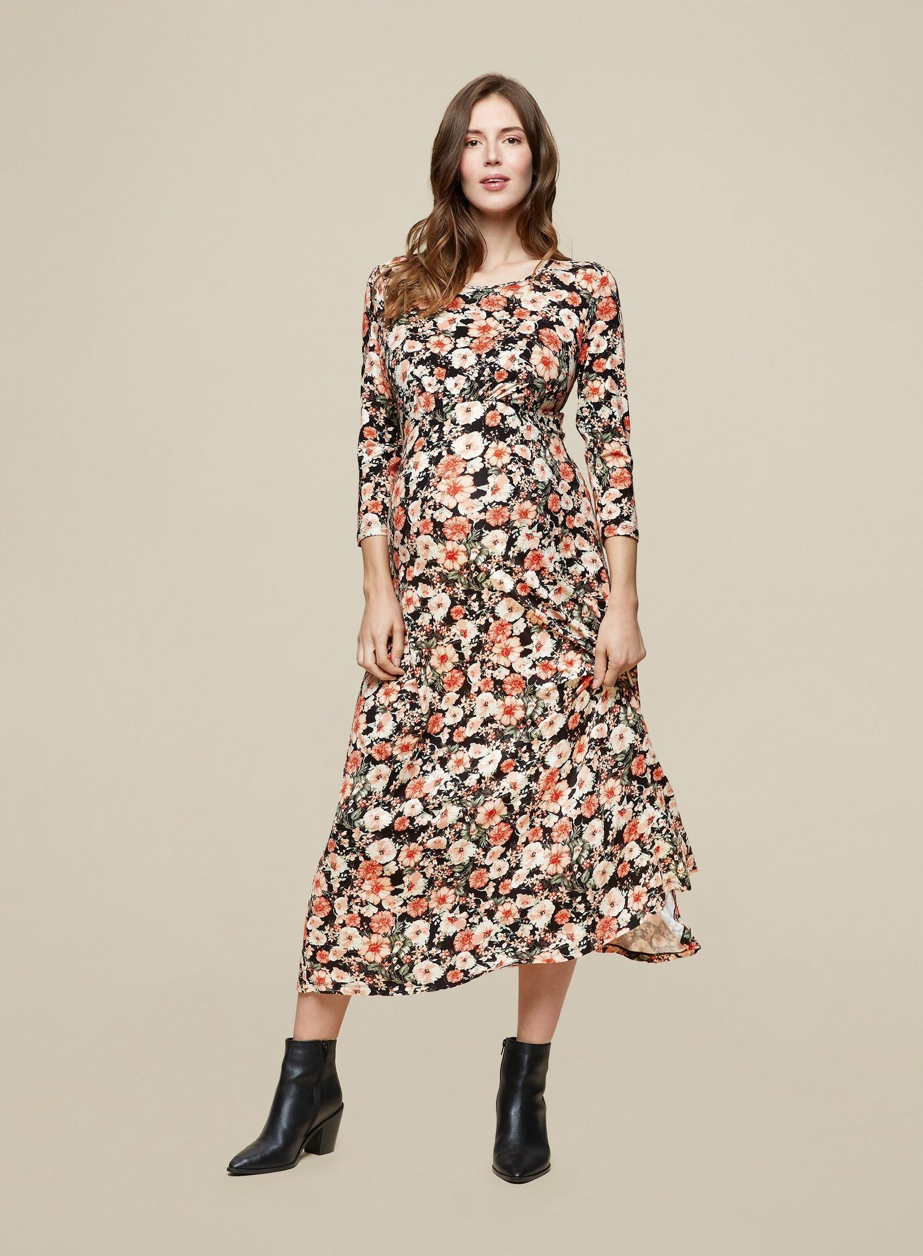 Petite Black Floral 3 Quarter Sleeve Dress