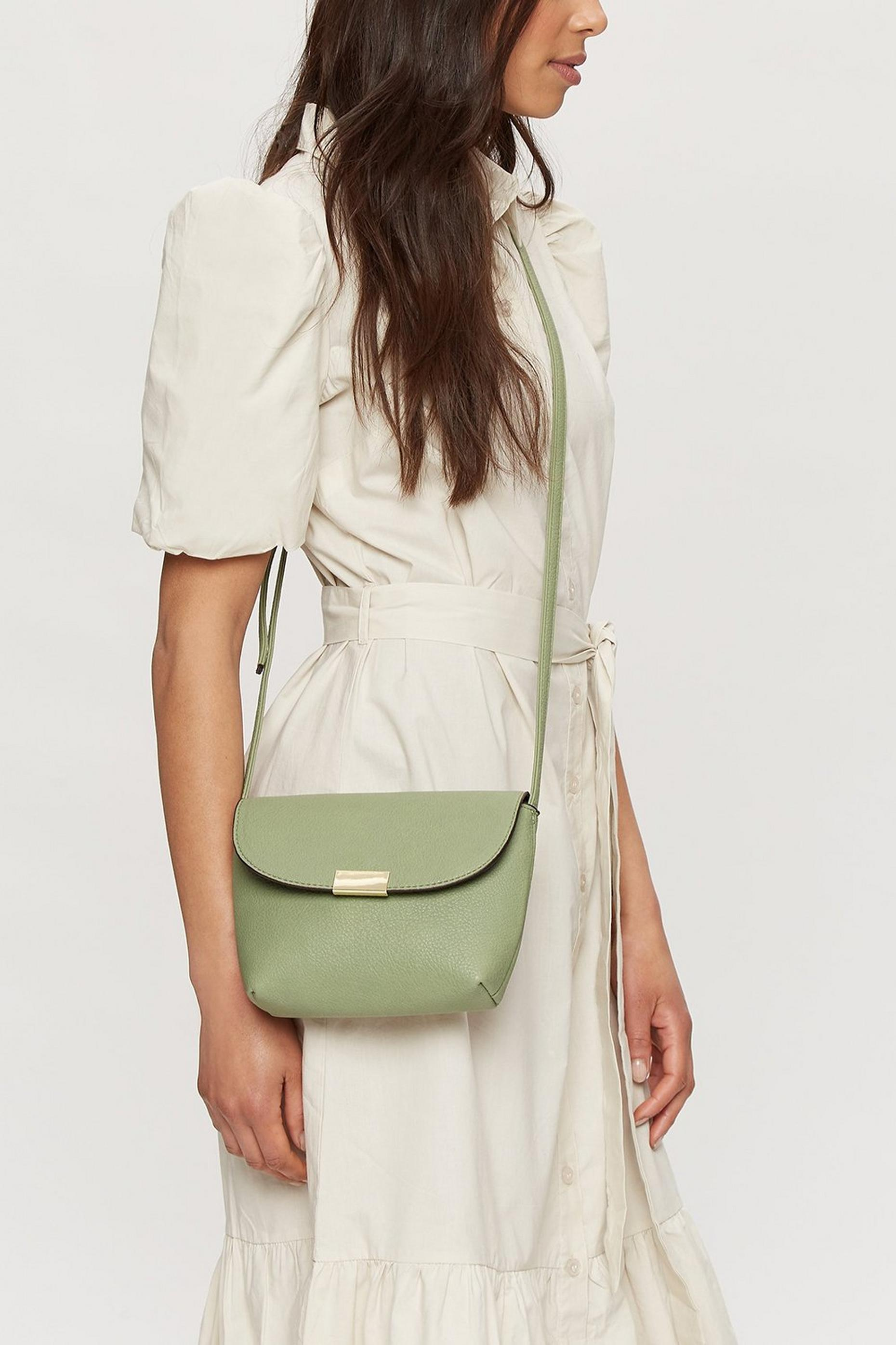 Sage Metal Tab Crossbody Bag