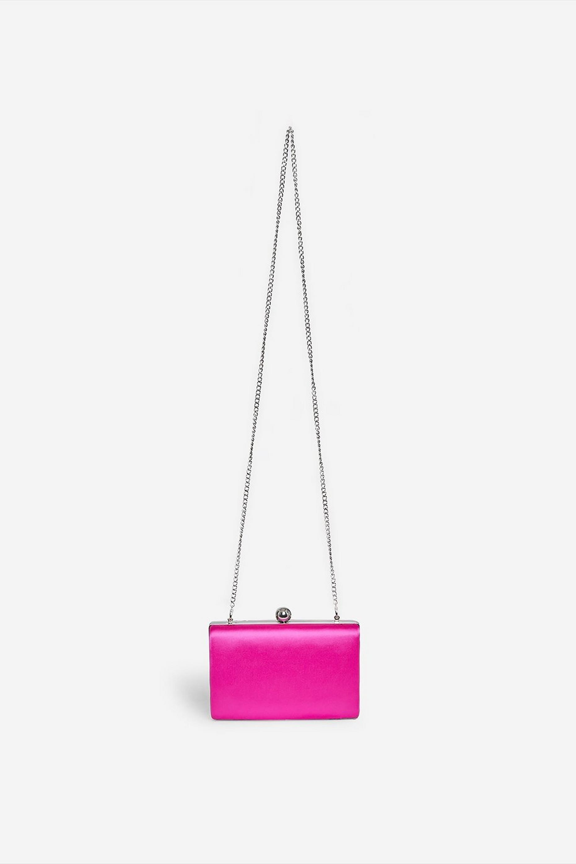 Pink Satin Box Clutch Bag