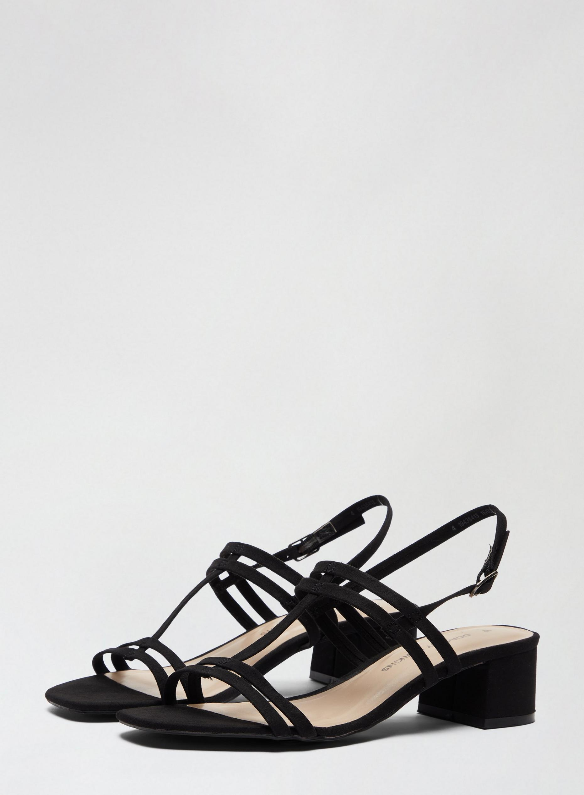 Black Square Heeled Sandals