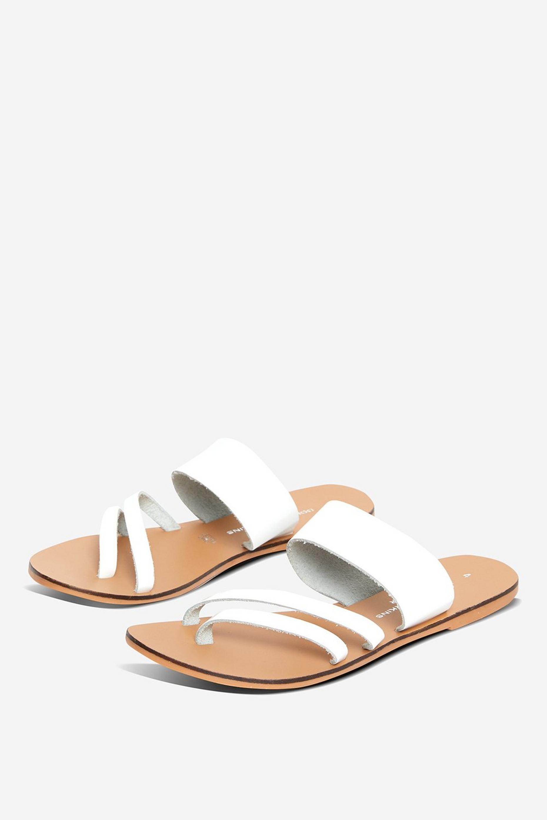 Leather White Joss Aysmmertical Sandals