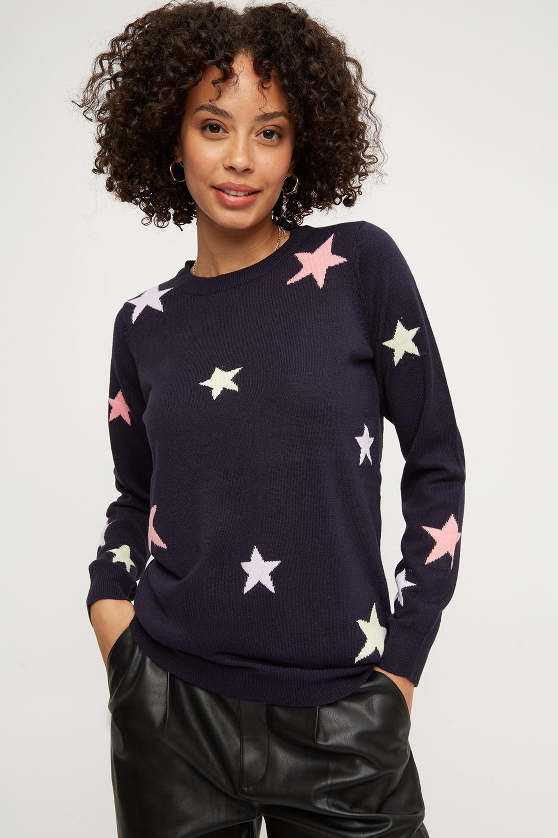 Navy Crew Neck Star Jumper