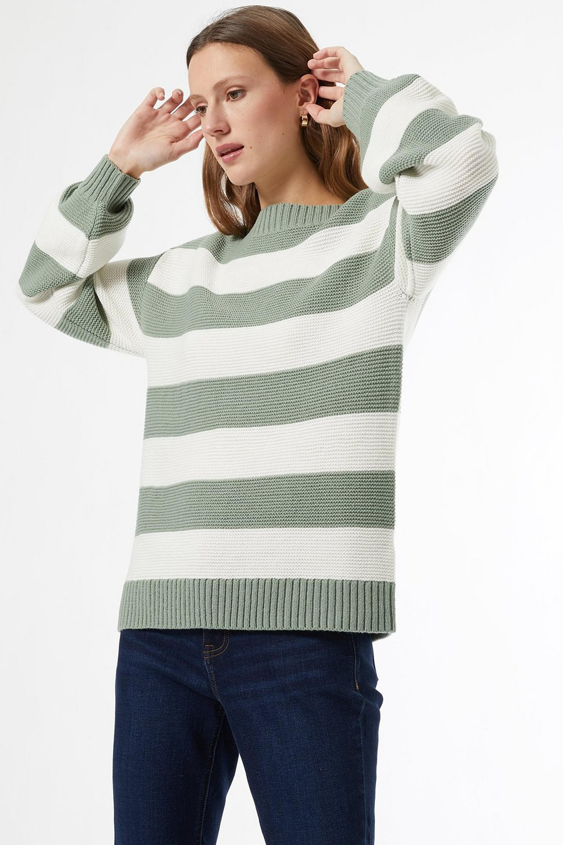 Khaki Slash Neck Stripe Print Jumper