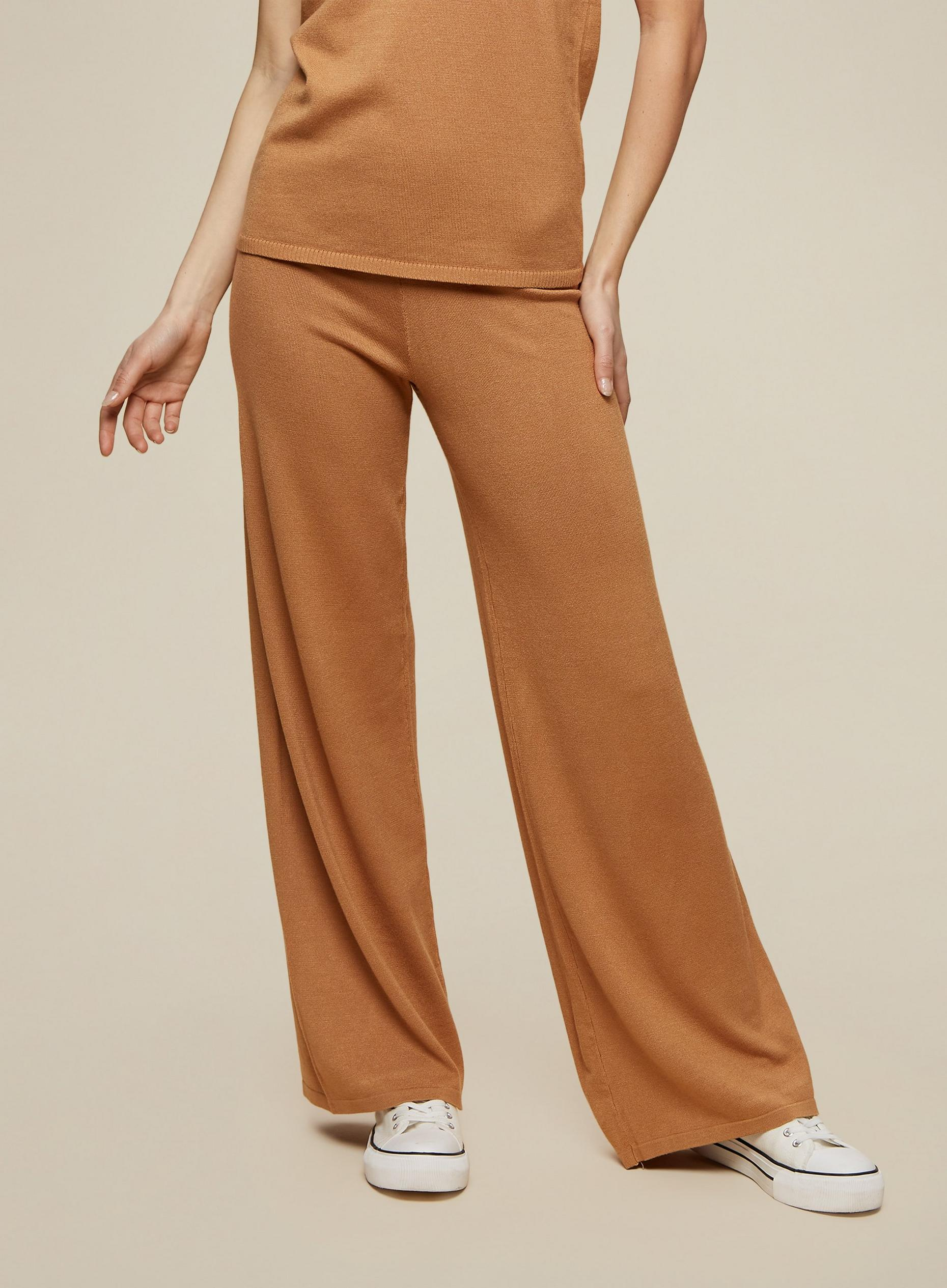 Camel Wide Leg Knitted Trousers