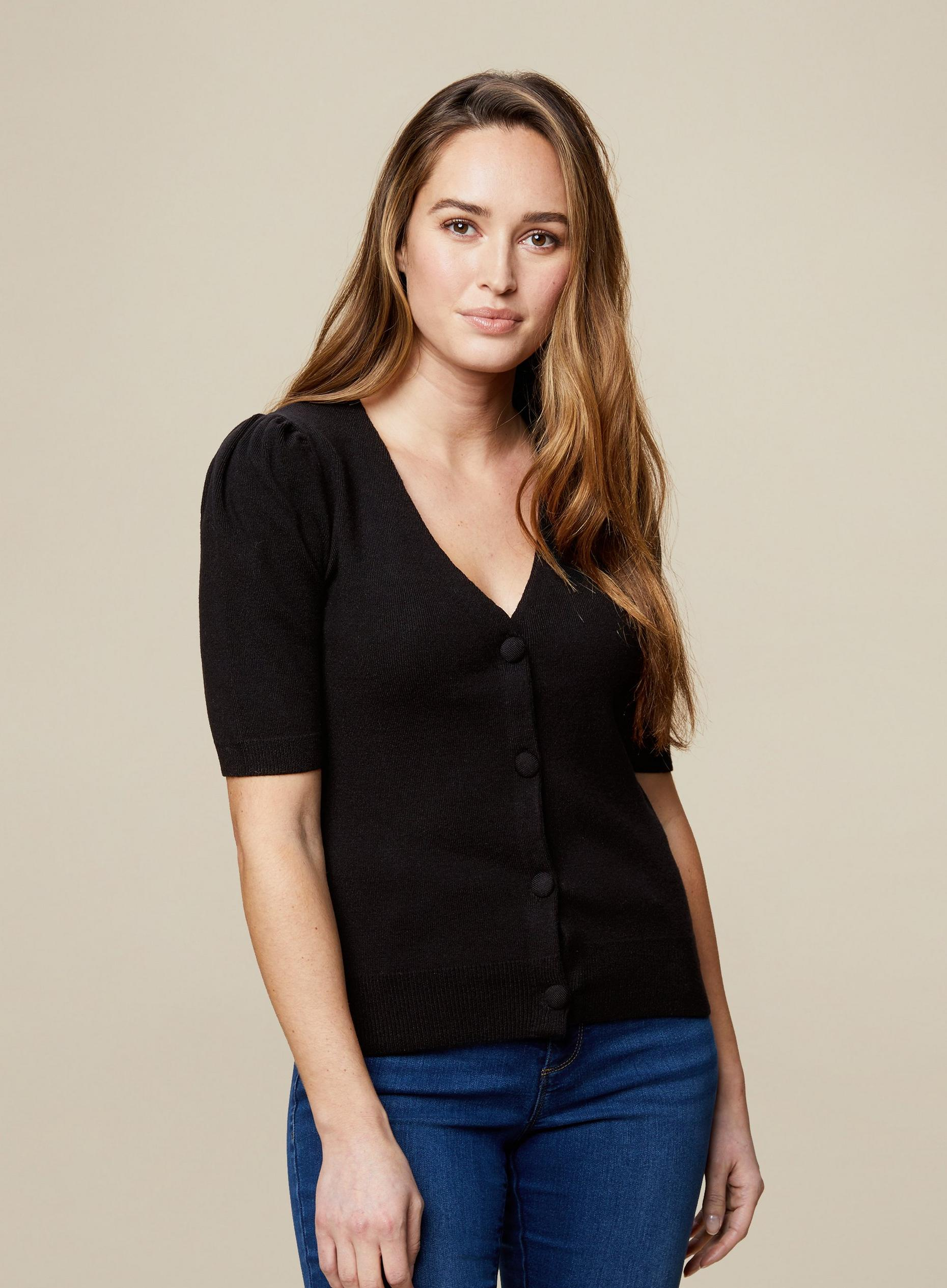 Black Self Covered Button Cardigan
