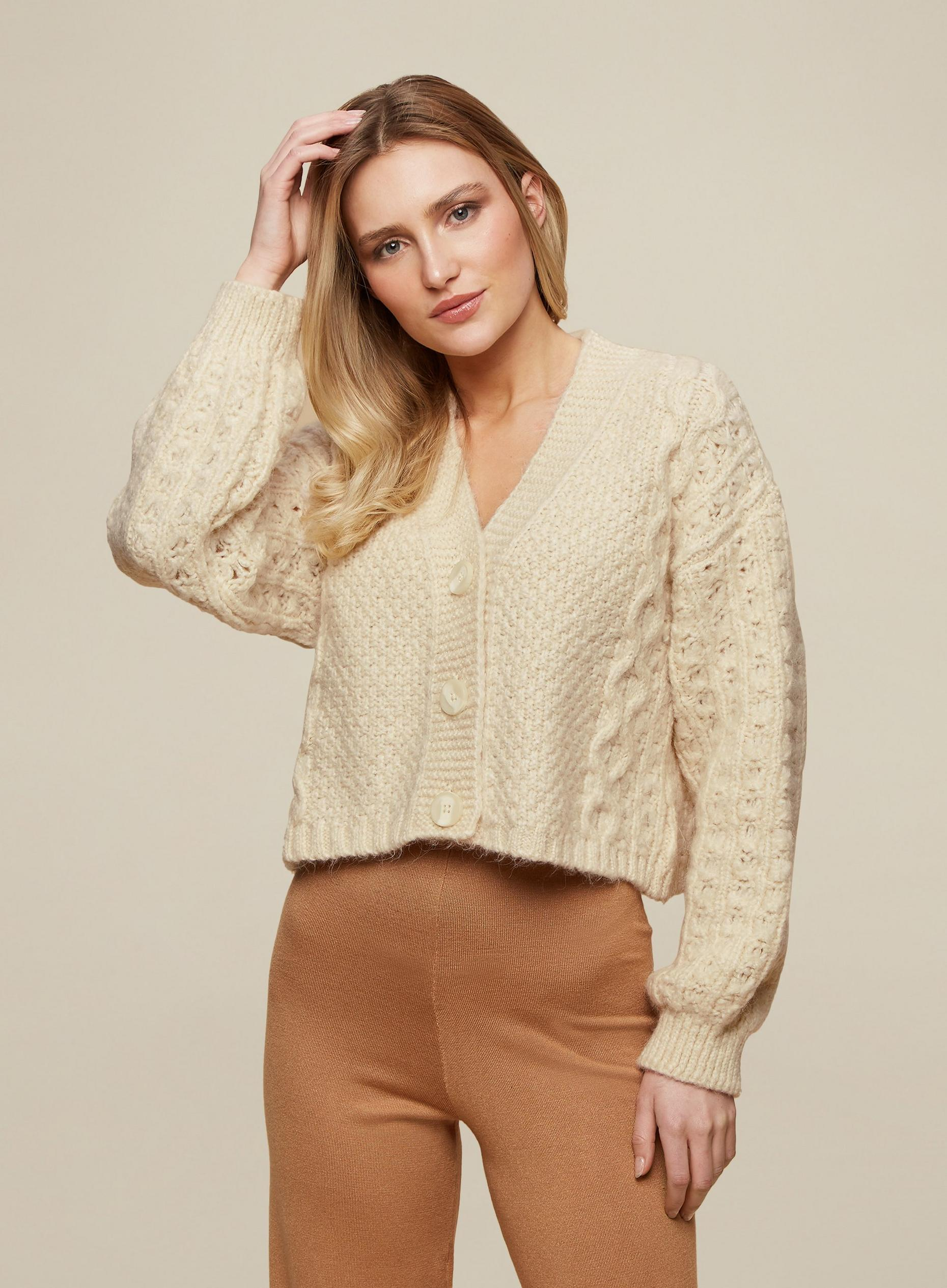 Cream Soft Cable Detail Cardigan