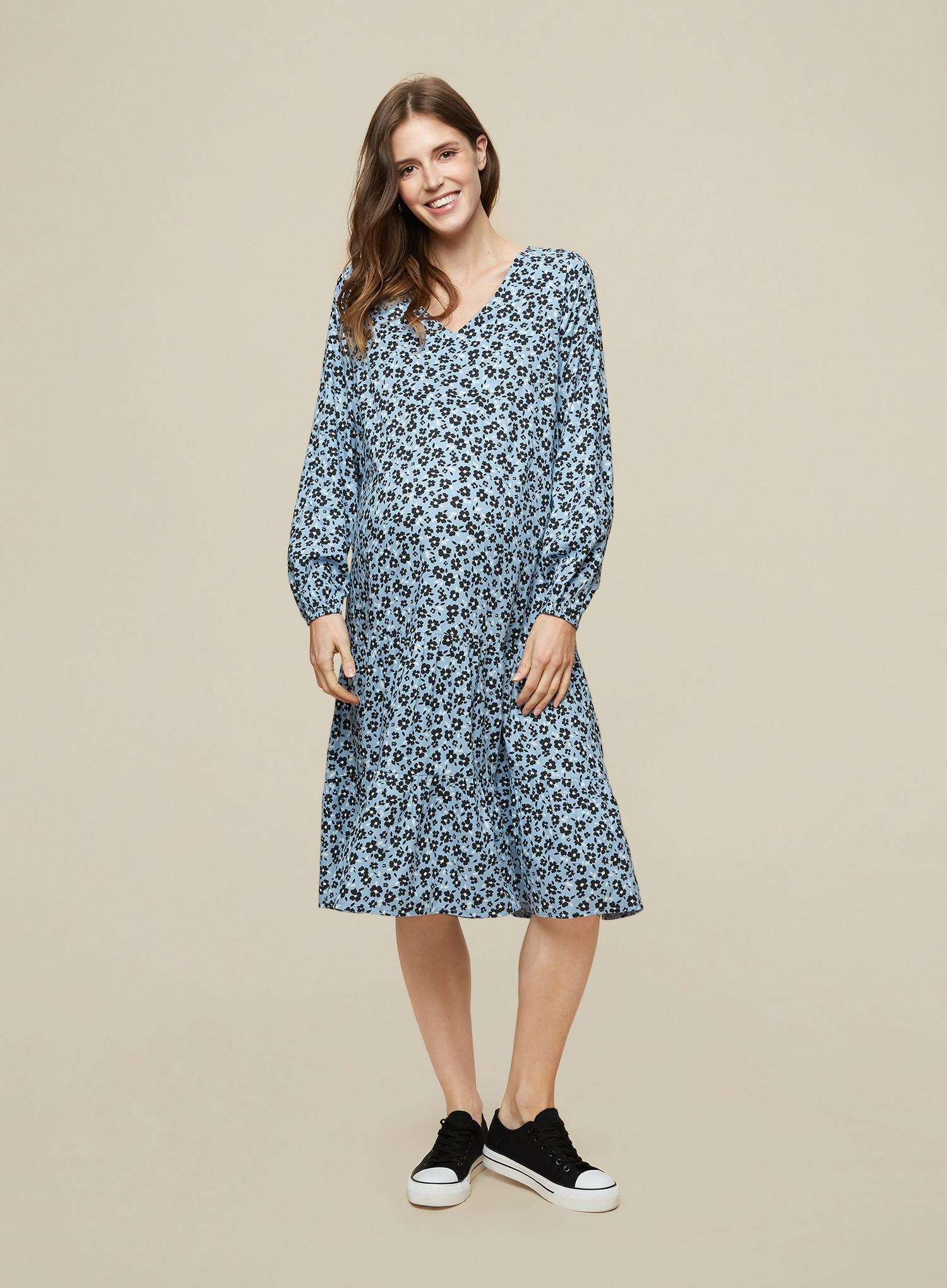 106 Maternity Blue Floral Print Dress image number 2