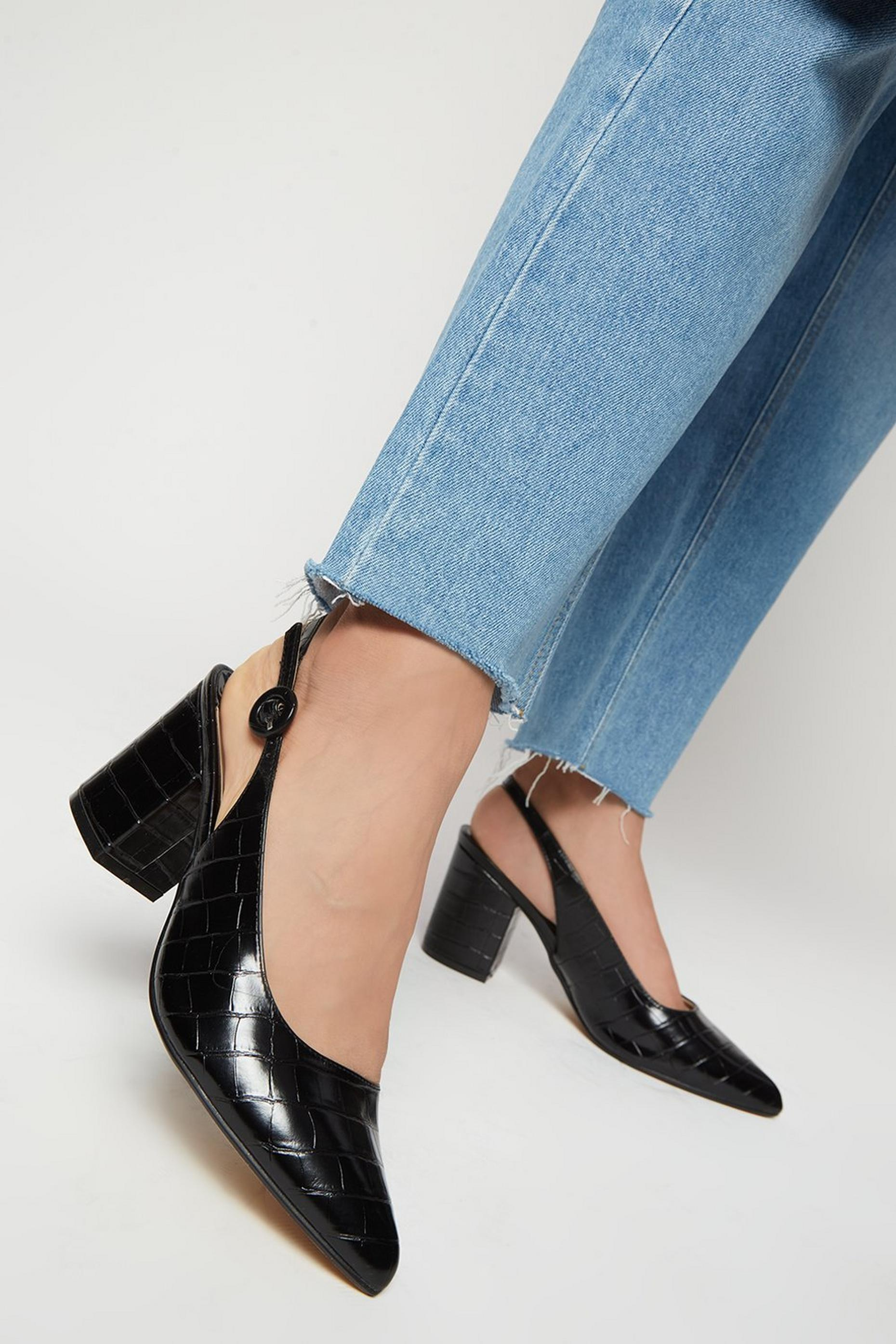 Wide Fit Black Evie Slingback Court Shoe