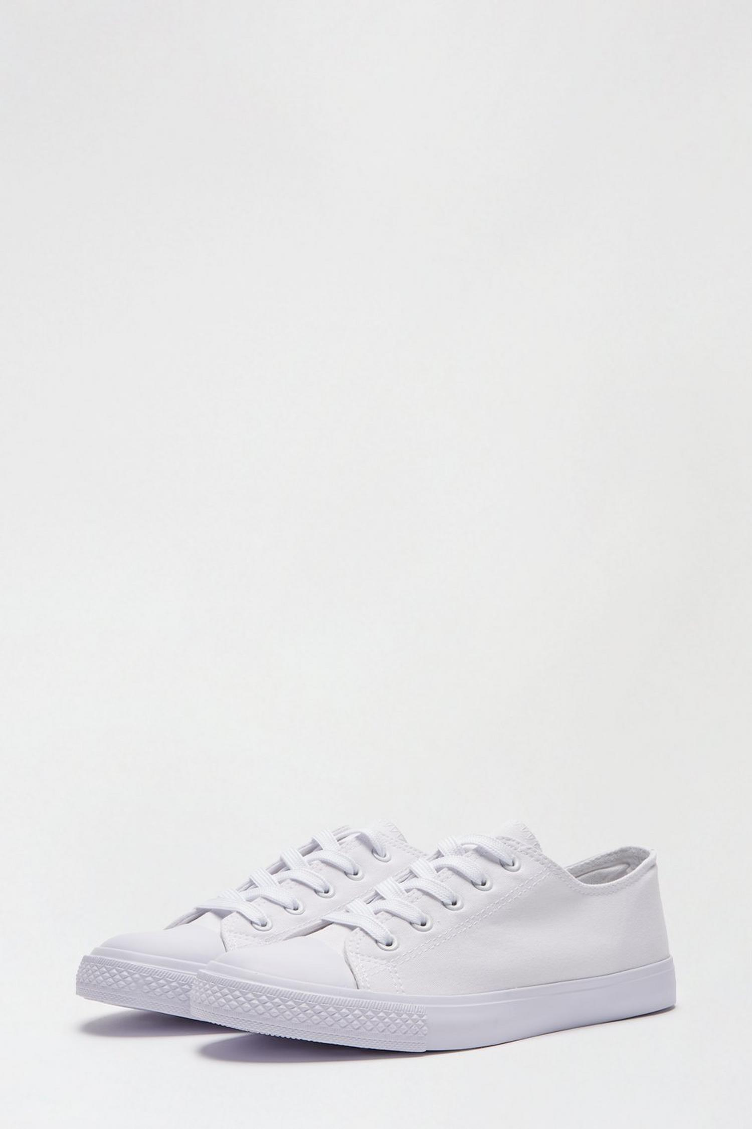 173 White Icon Canvas Trainers image number 2