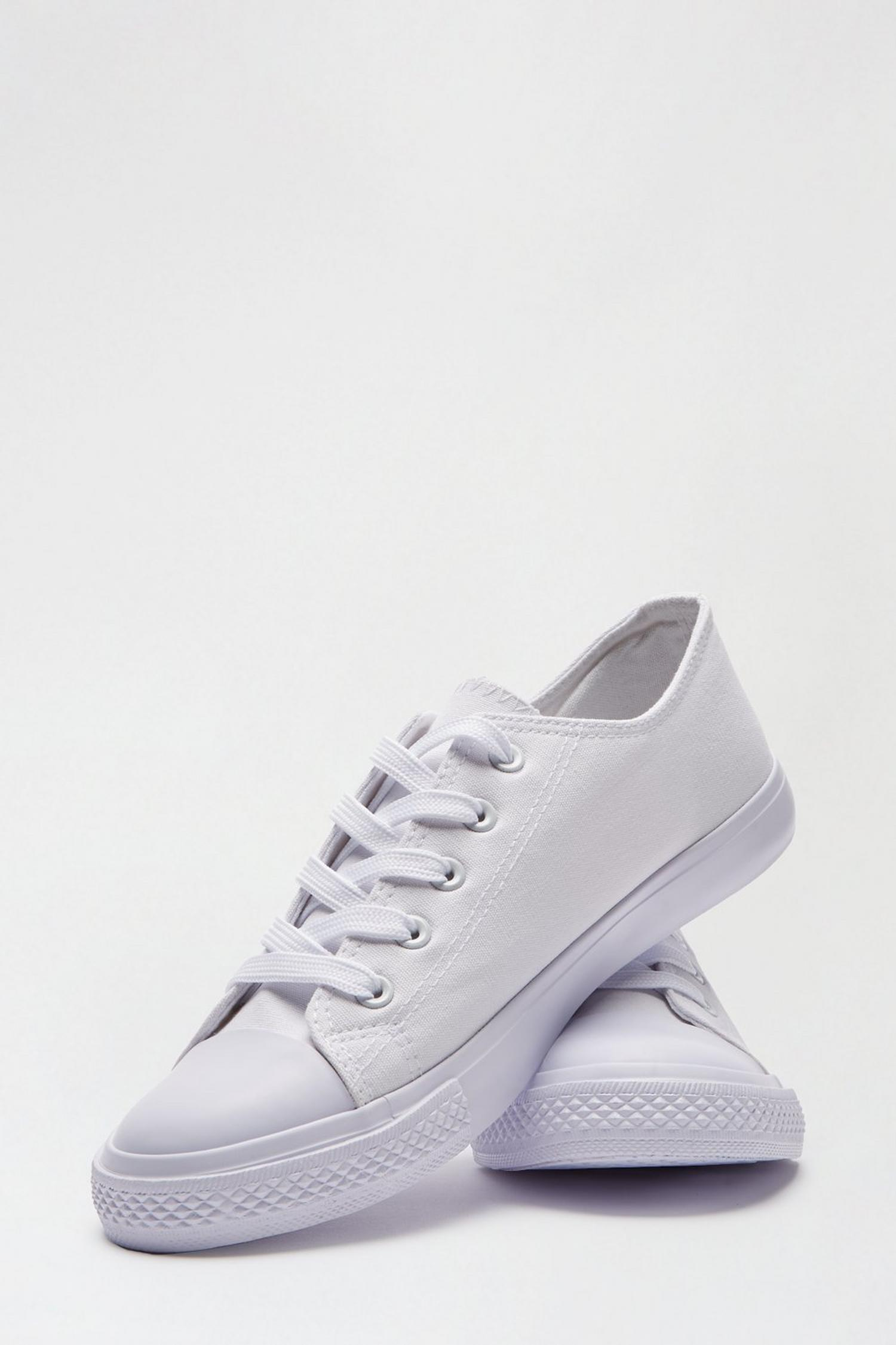 173 White Icon Canvas Trainers image number 3