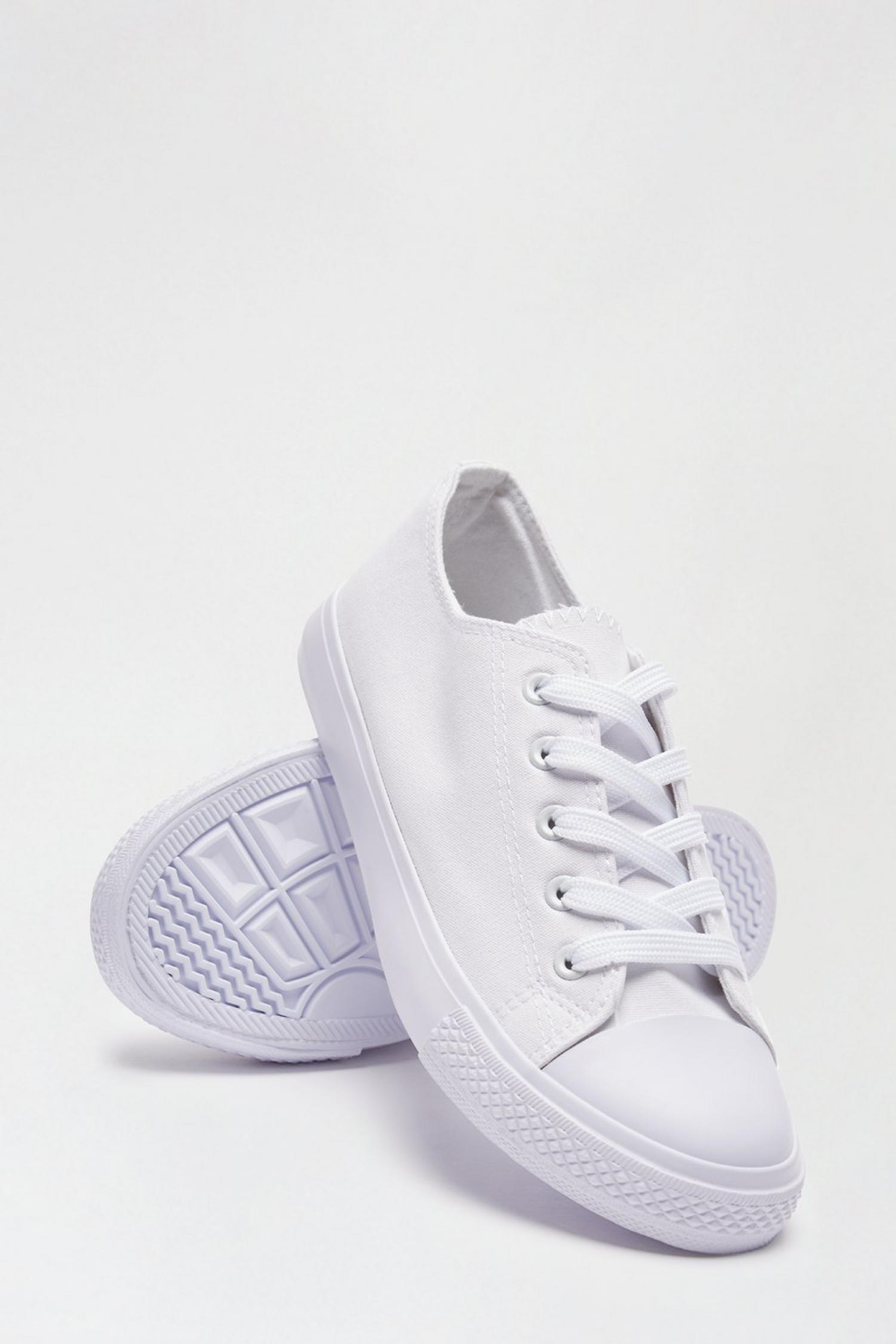 173 White Icon Canvas Trainers image number 4