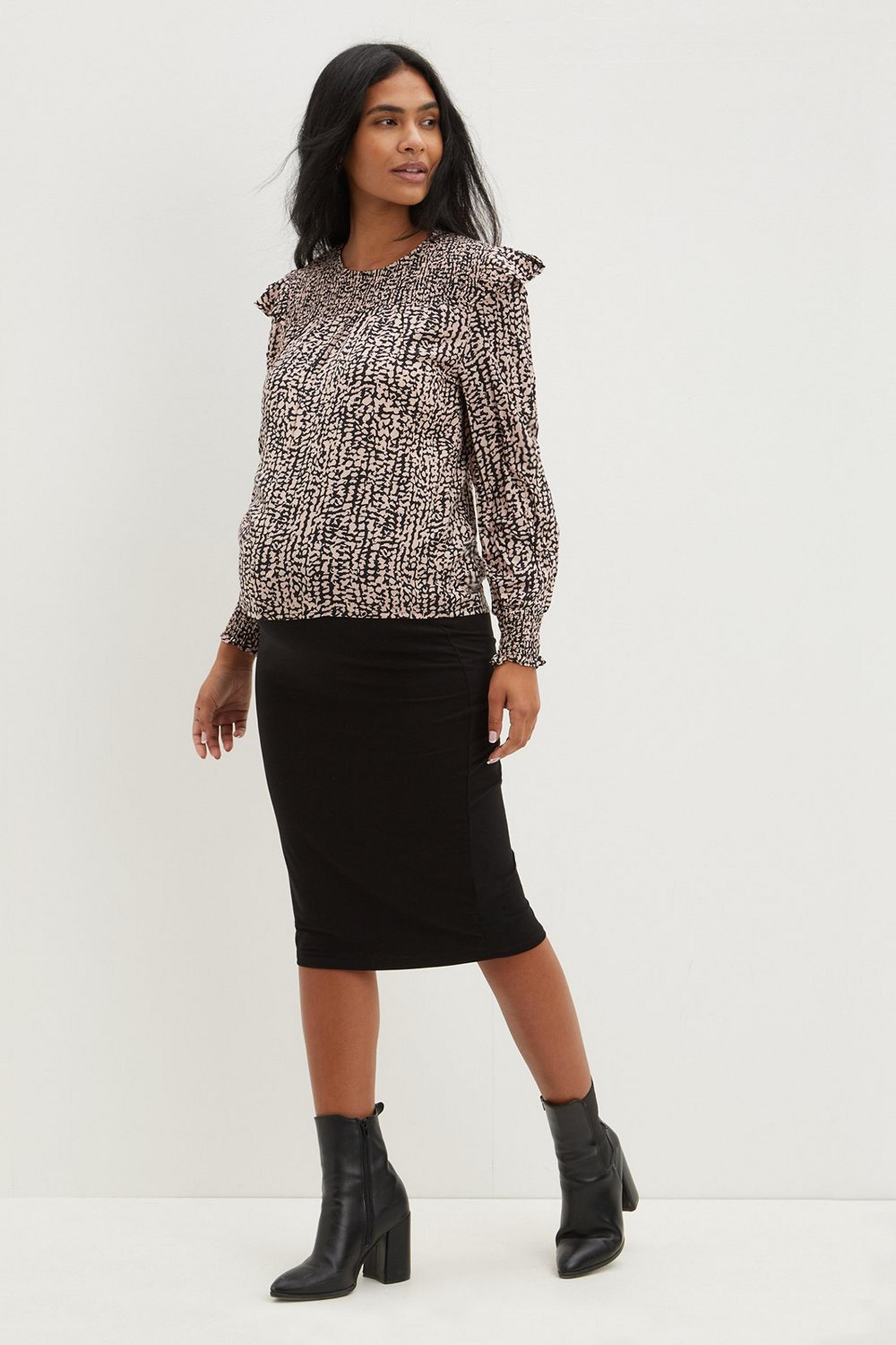 Maternity Black Midi Skirt
