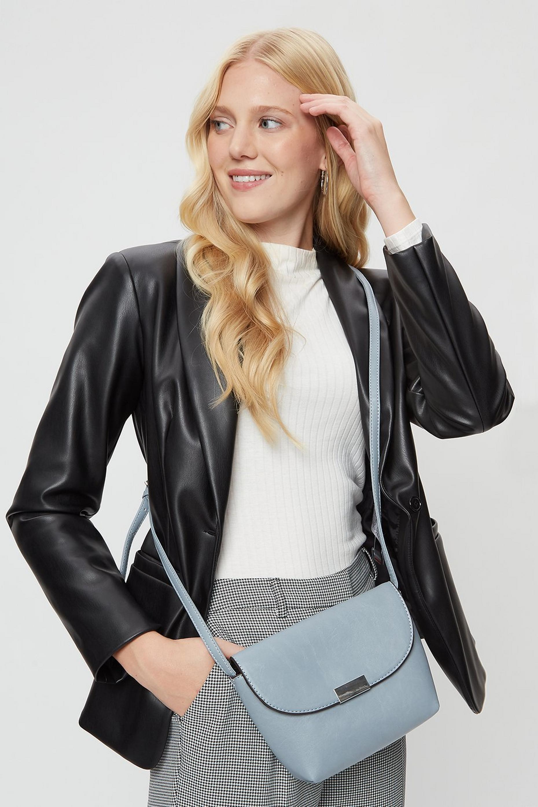 Blue Metal Tab Crossbody Bag