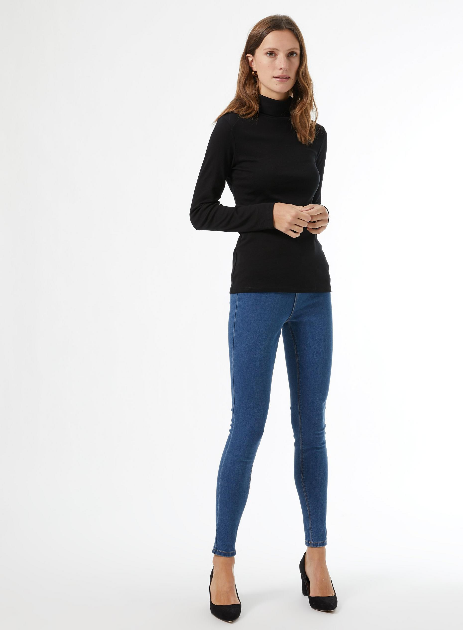Black Organic Cotton Roll Neck Top