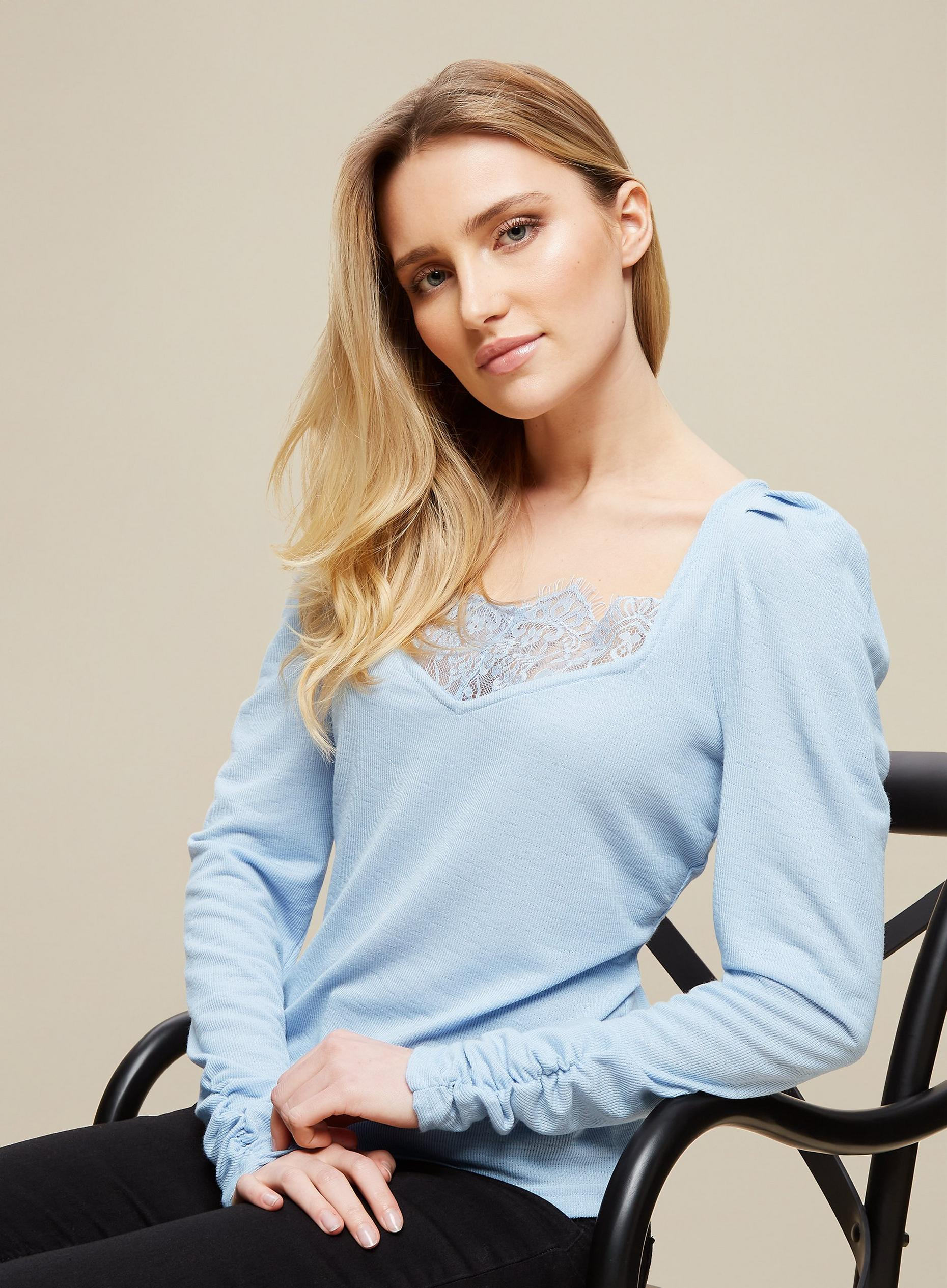 Blue Lace Trim Ribbed Top