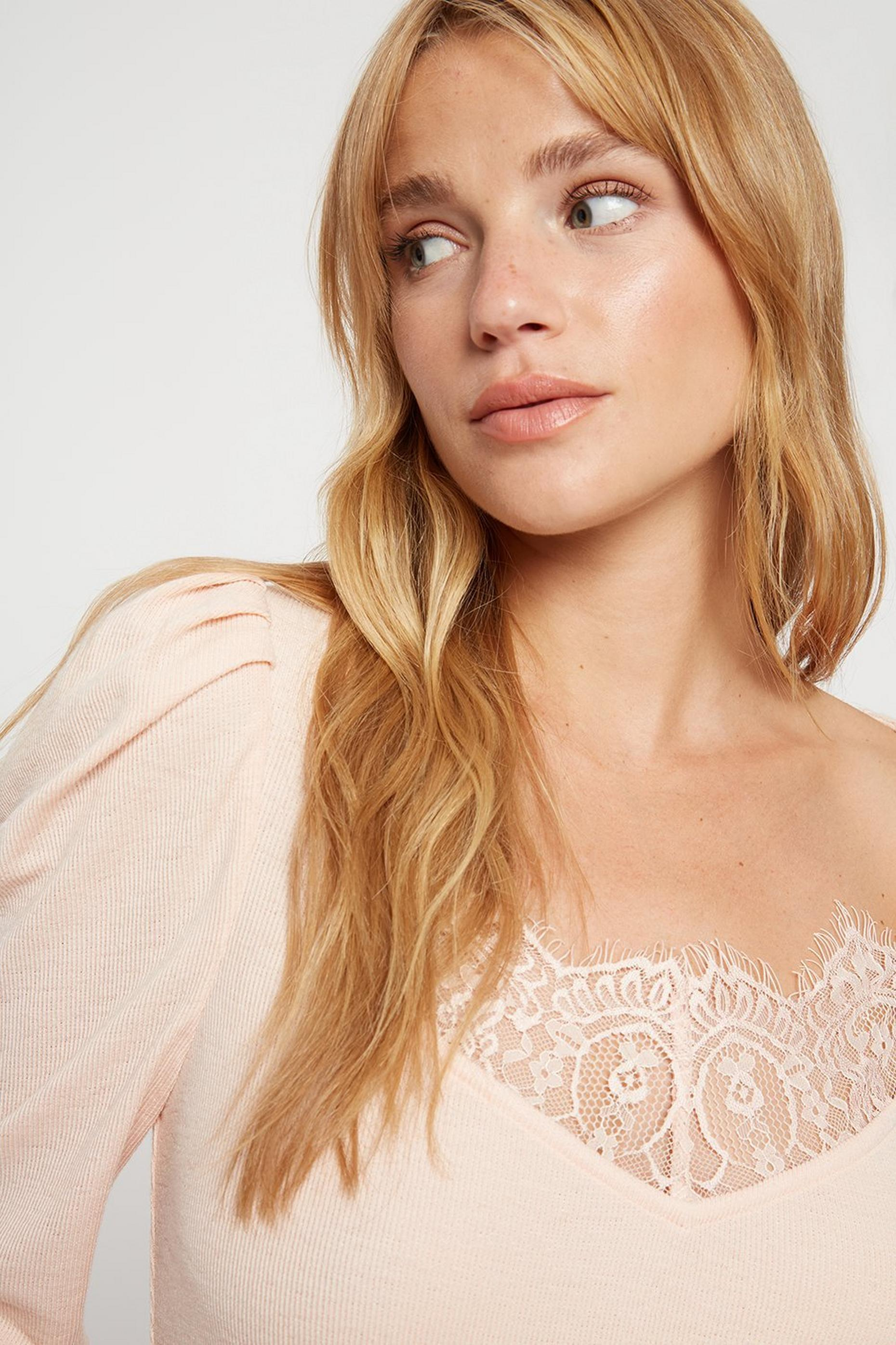 Blush Lace Trim Ribbed Top