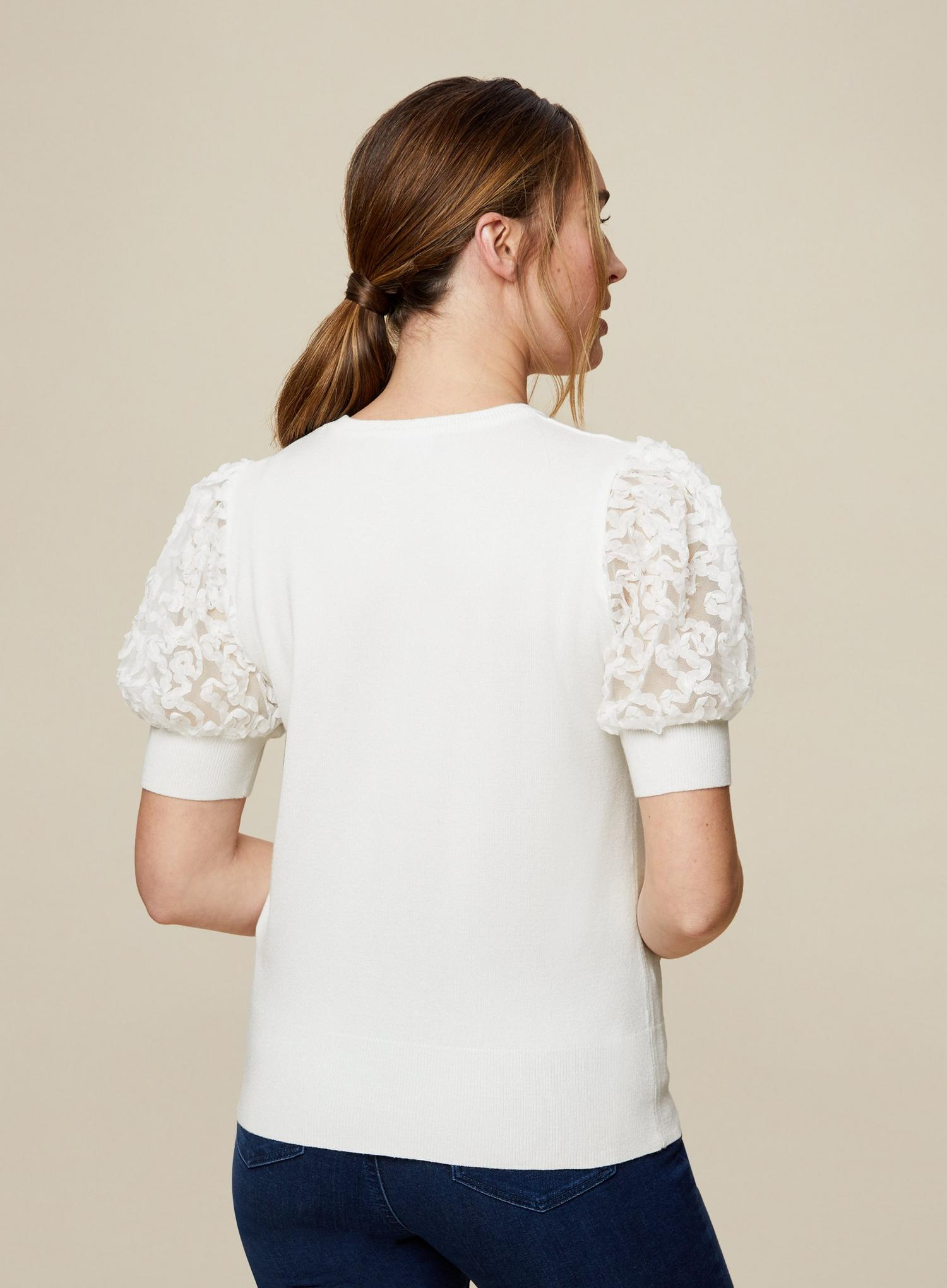 133 Ivory Mesh Puff Sleeve Top image number 3