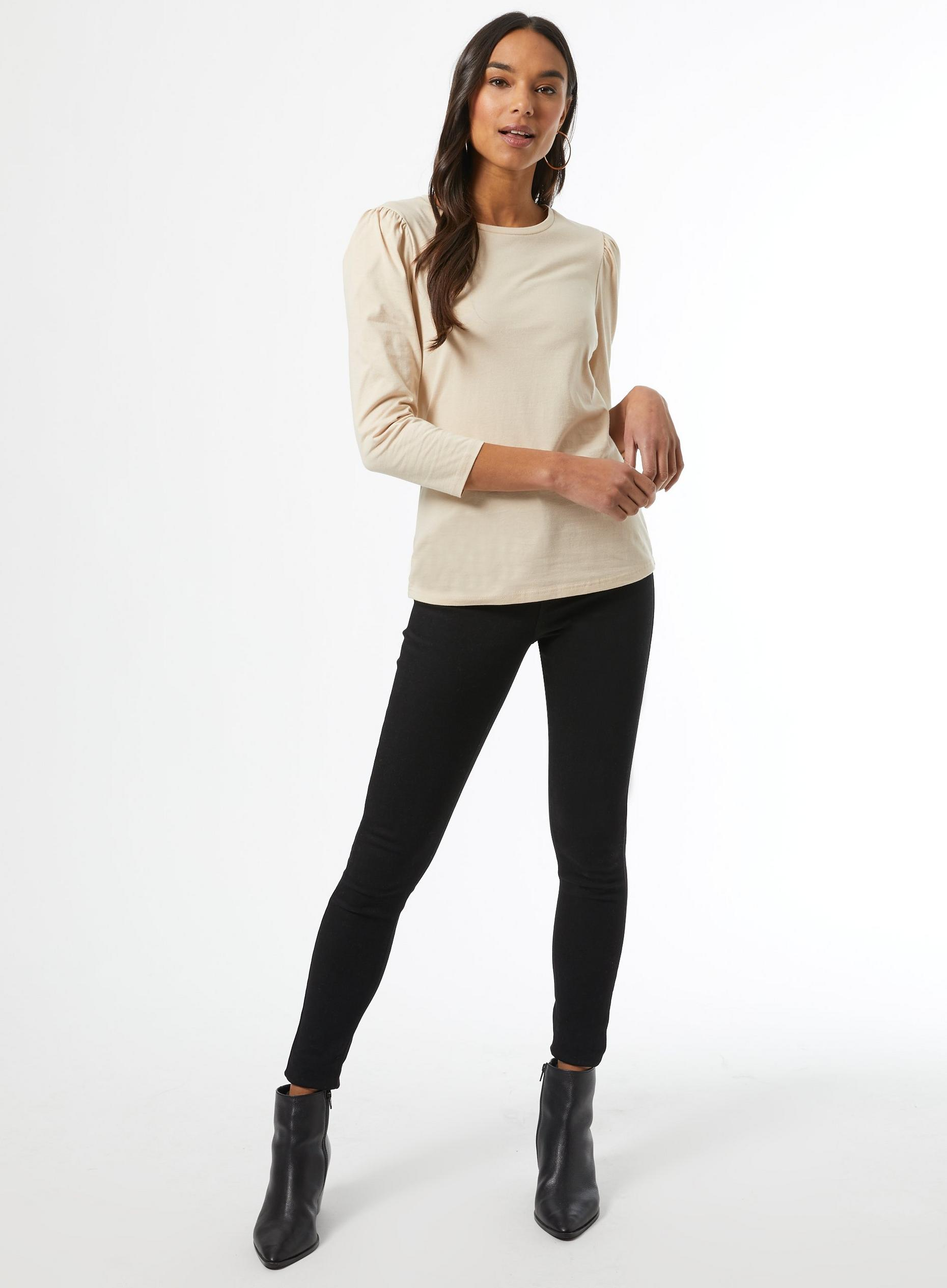 Camel Organic Cotton Puff Sleeve Top