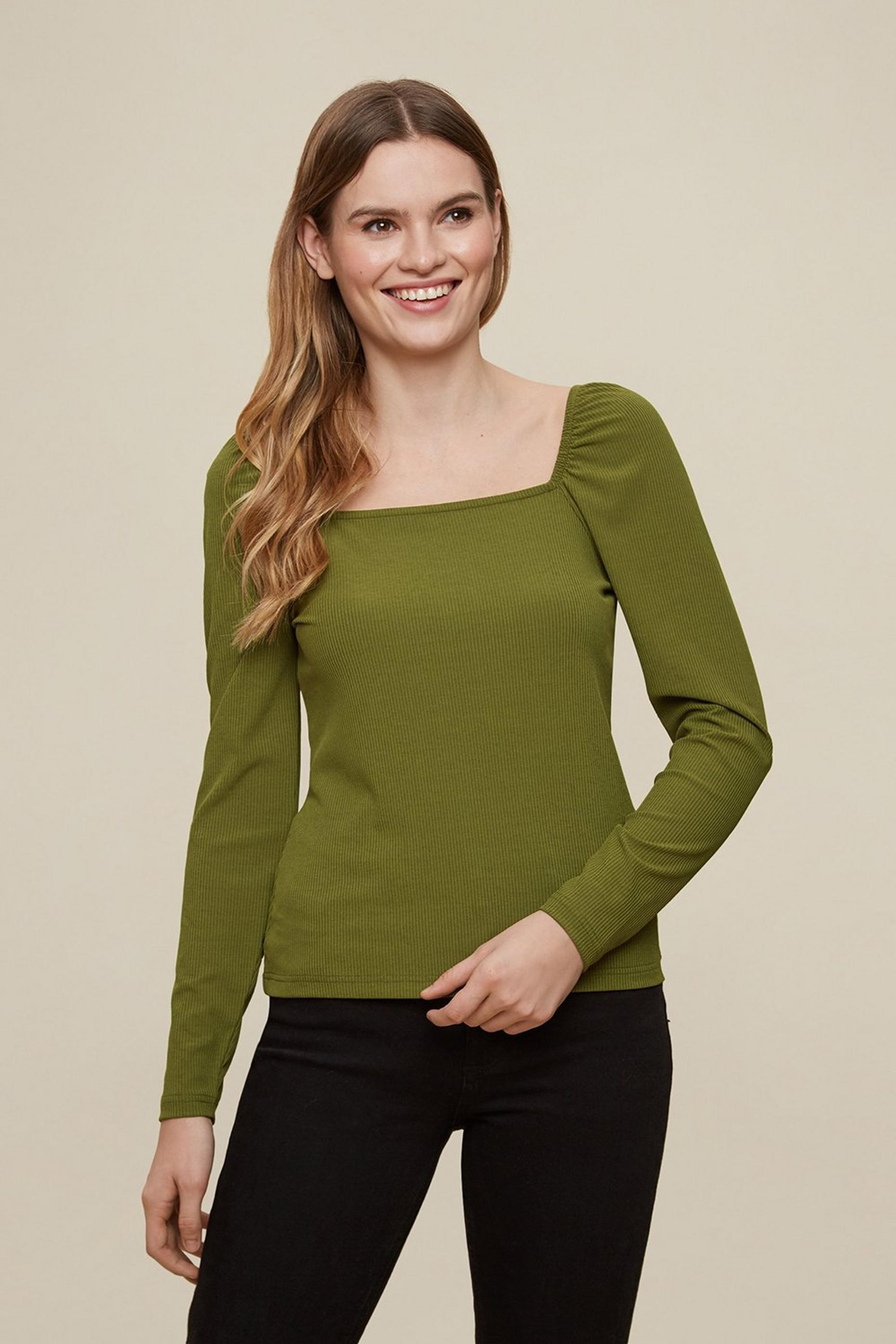 Khaki Square Neck Ribbed Top