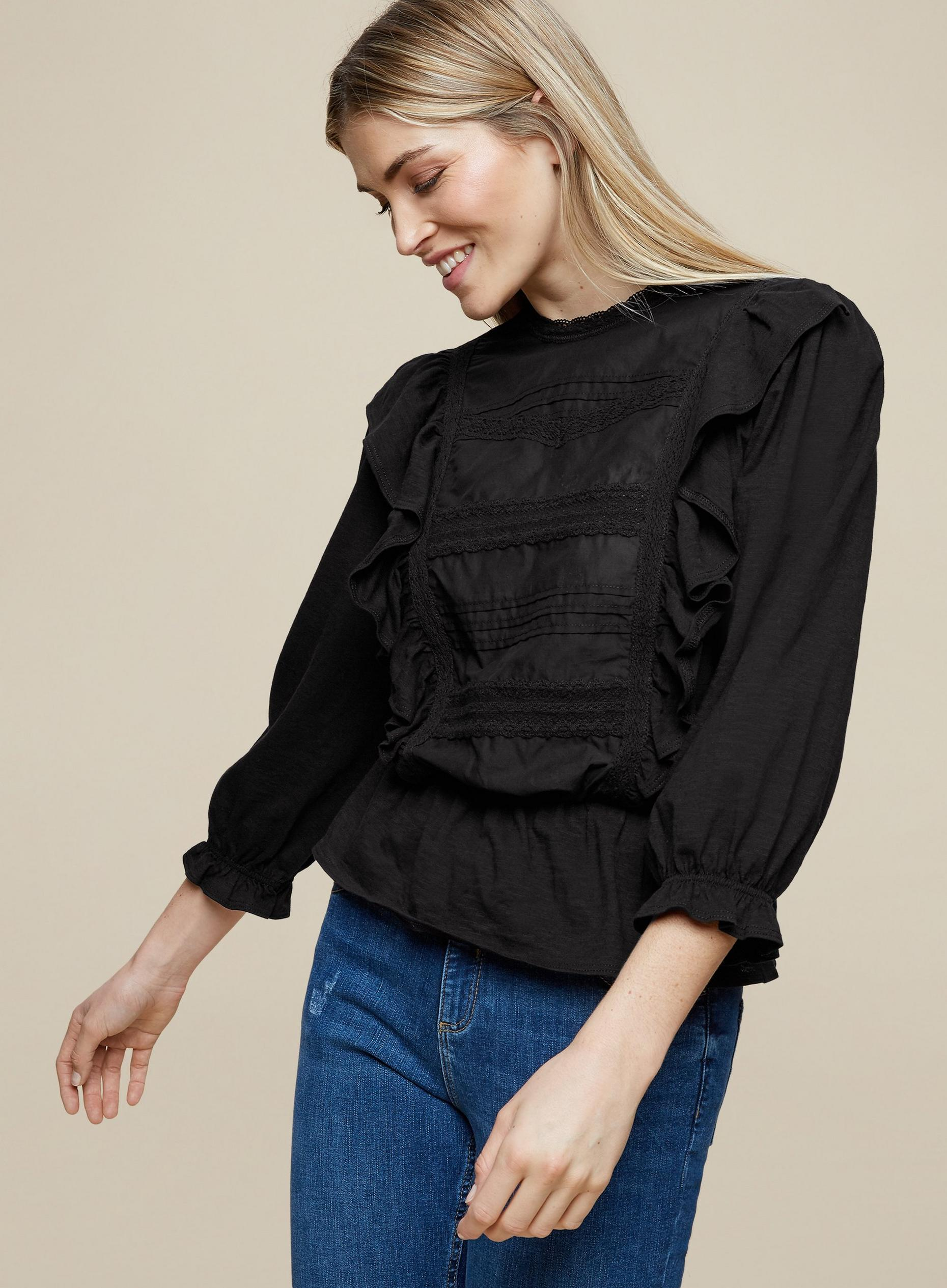 Pintuck Ruffle Trim Top