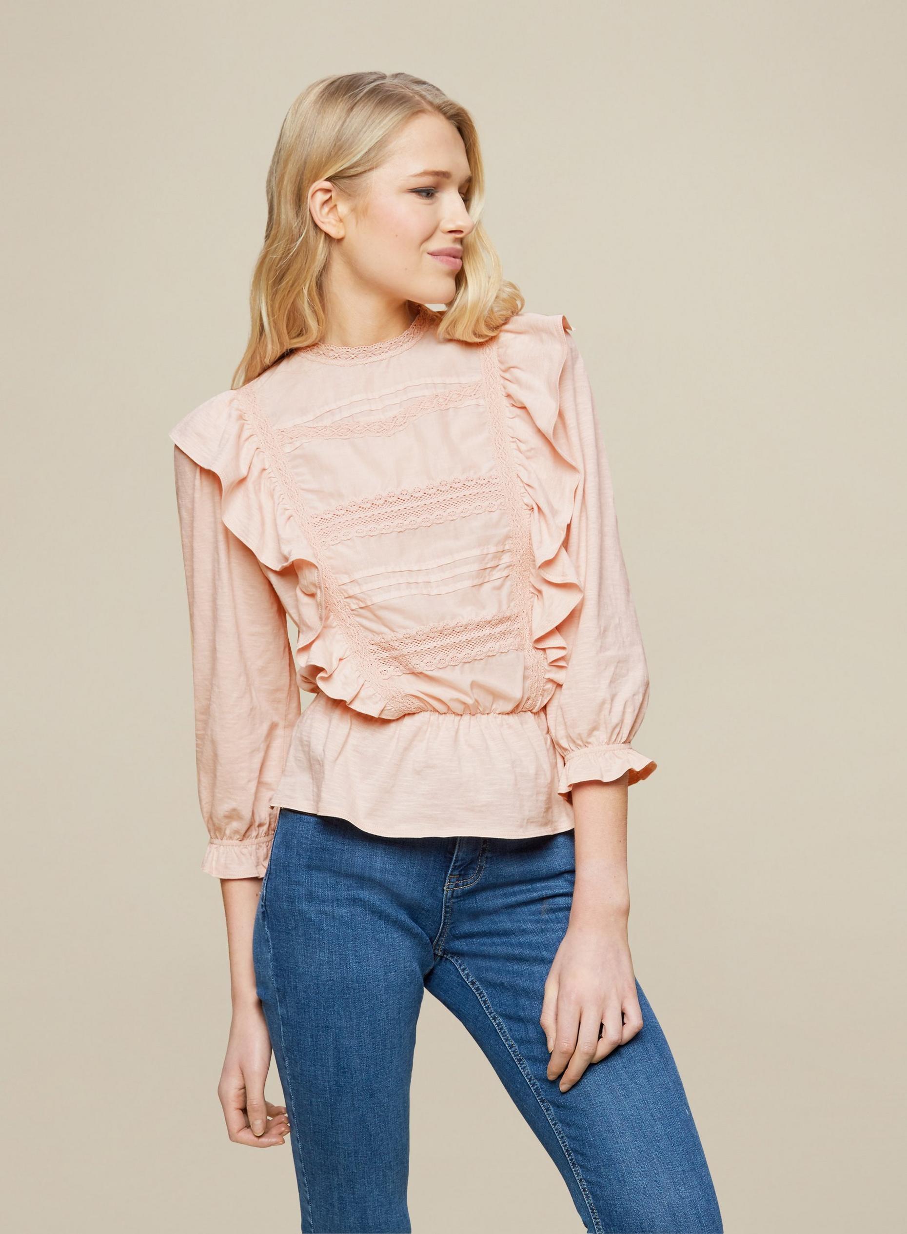 Blush Pintuck Trim Top