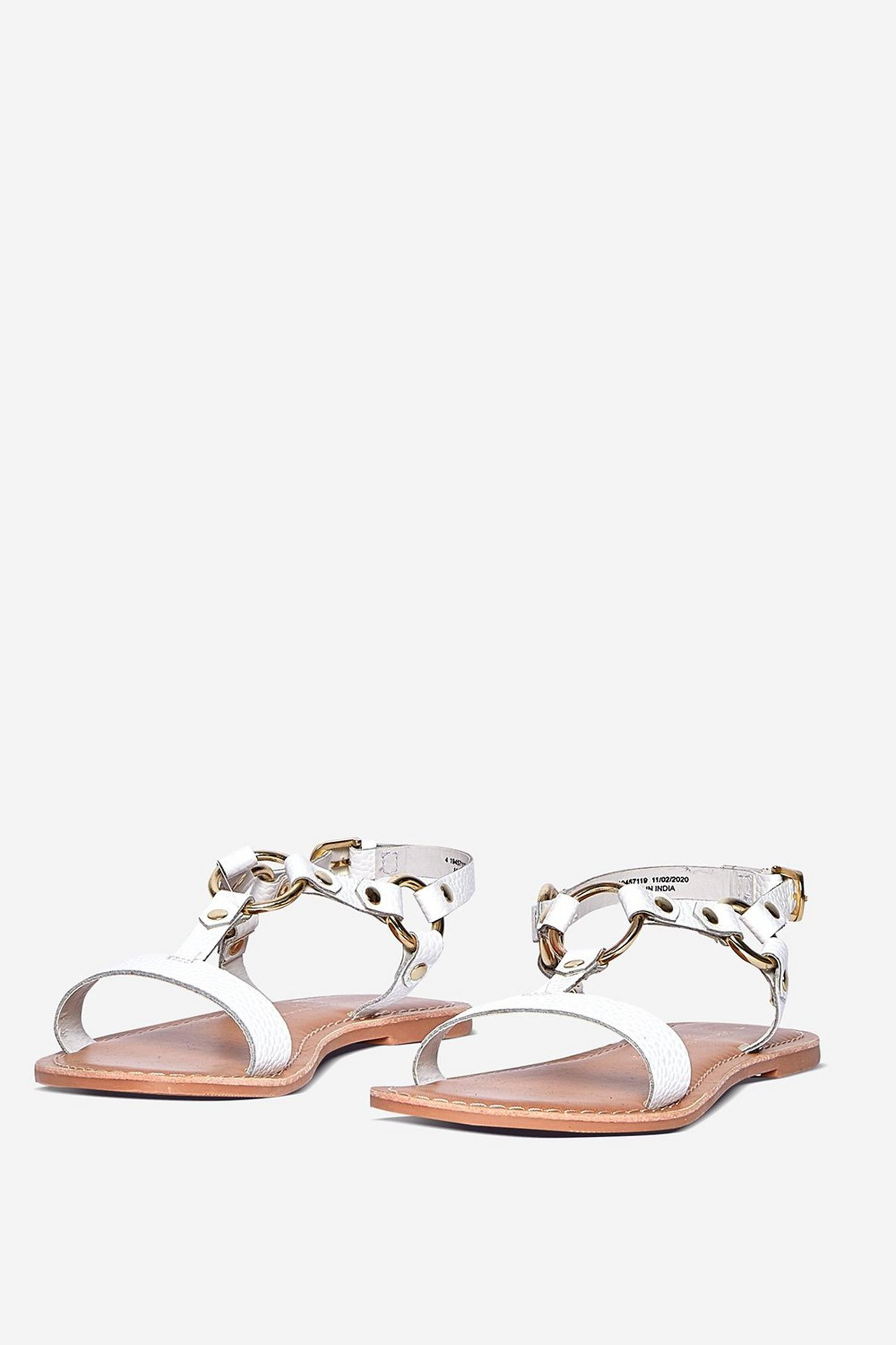 Leather White Jester Gladiator Sandal
