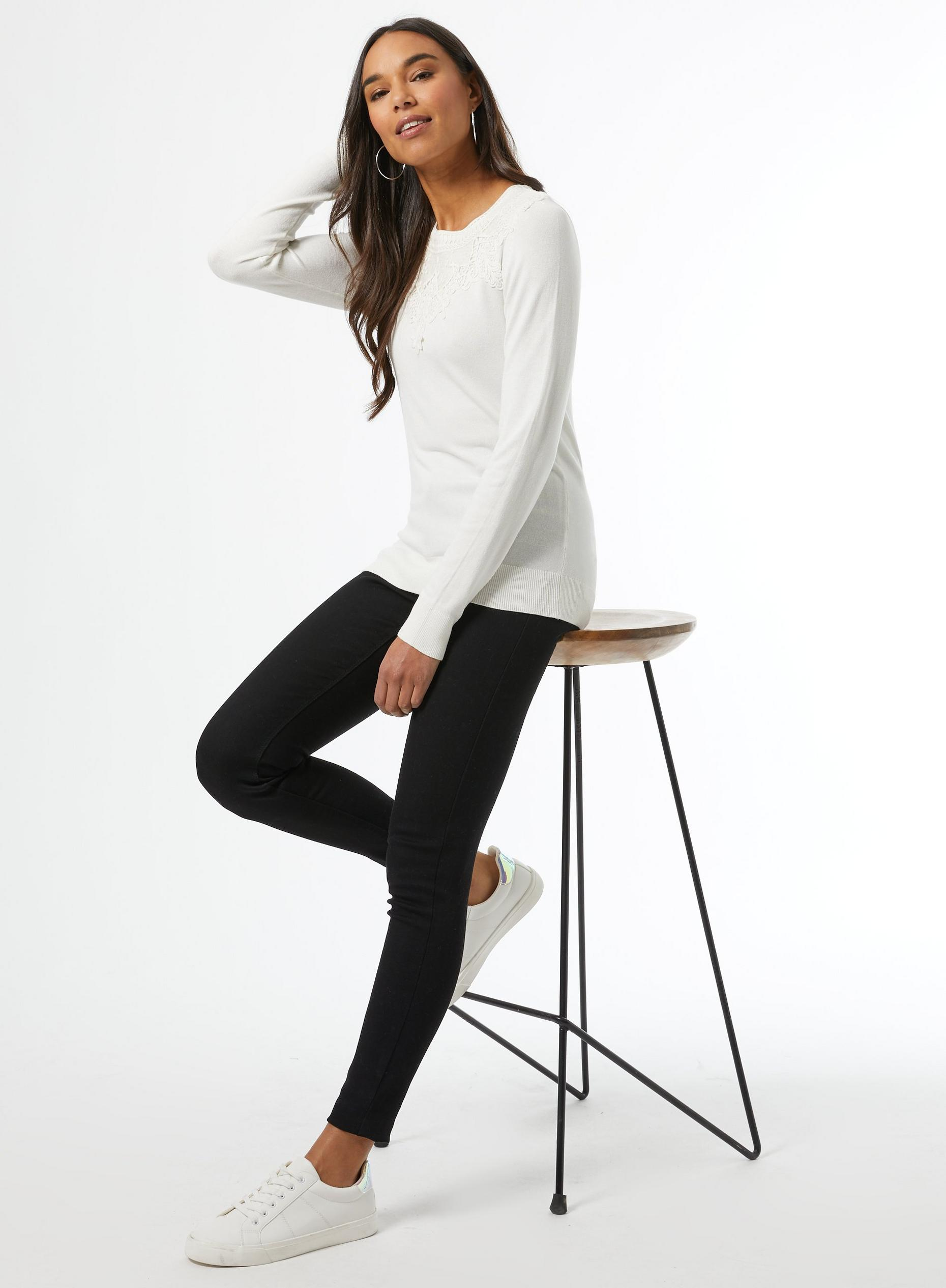 Ivory Lace Yolk Crew Neck Jumper