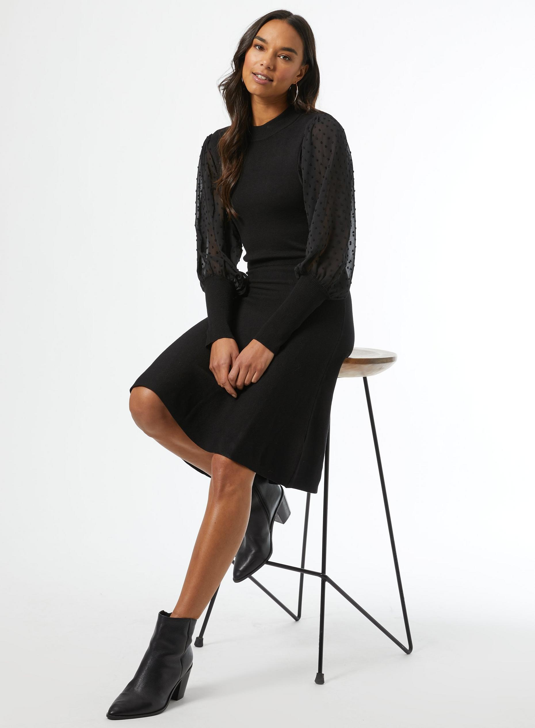 Black Dobby Sleeve Skater Knitted Dress