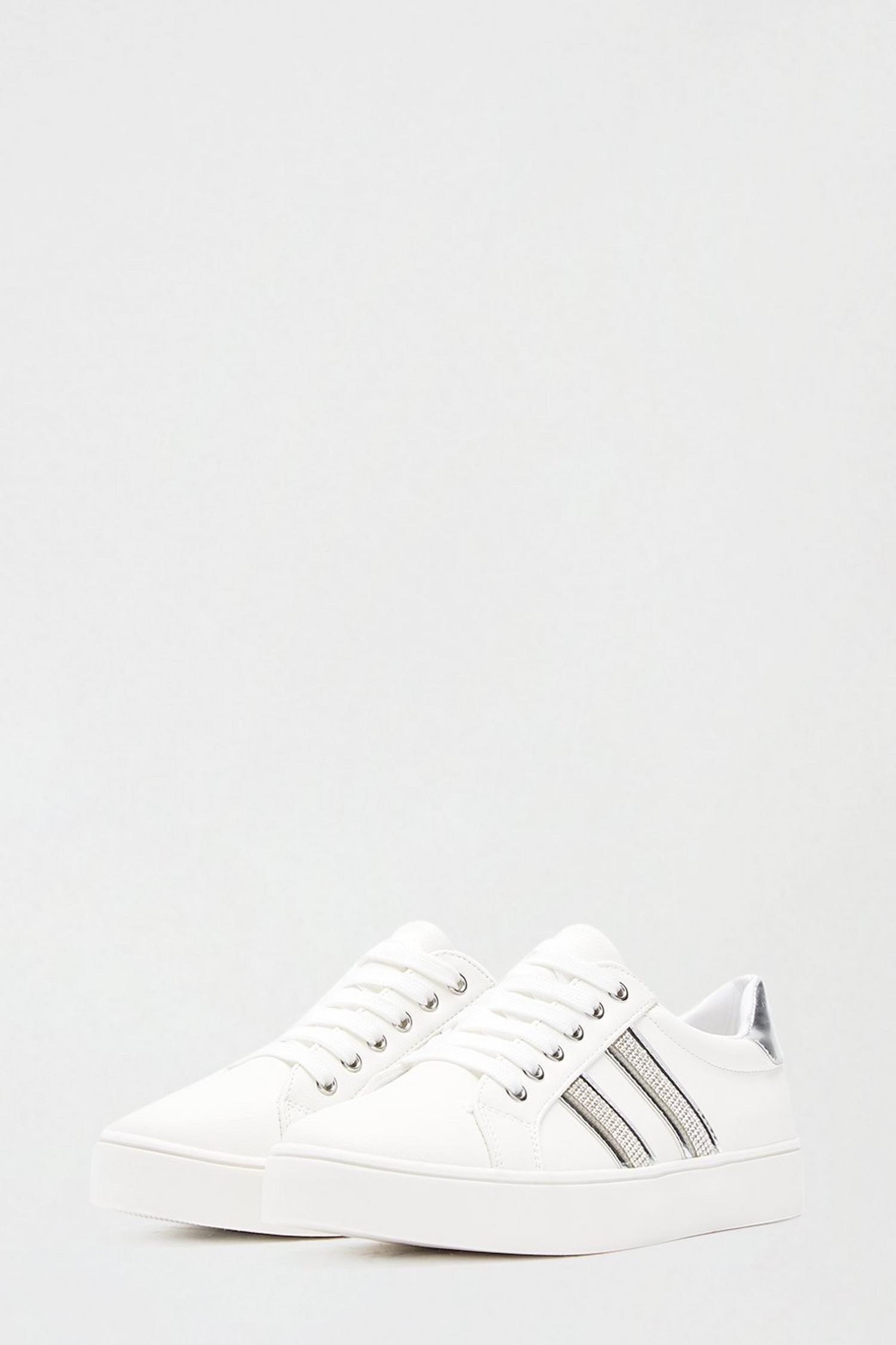 579 Silver Impact Side Stripe Trainer image number 2