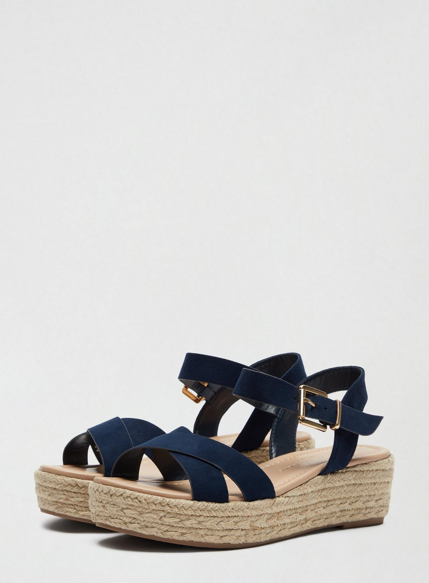 148 Wide Fit Navy Reenie Wedge Sandals image number 1