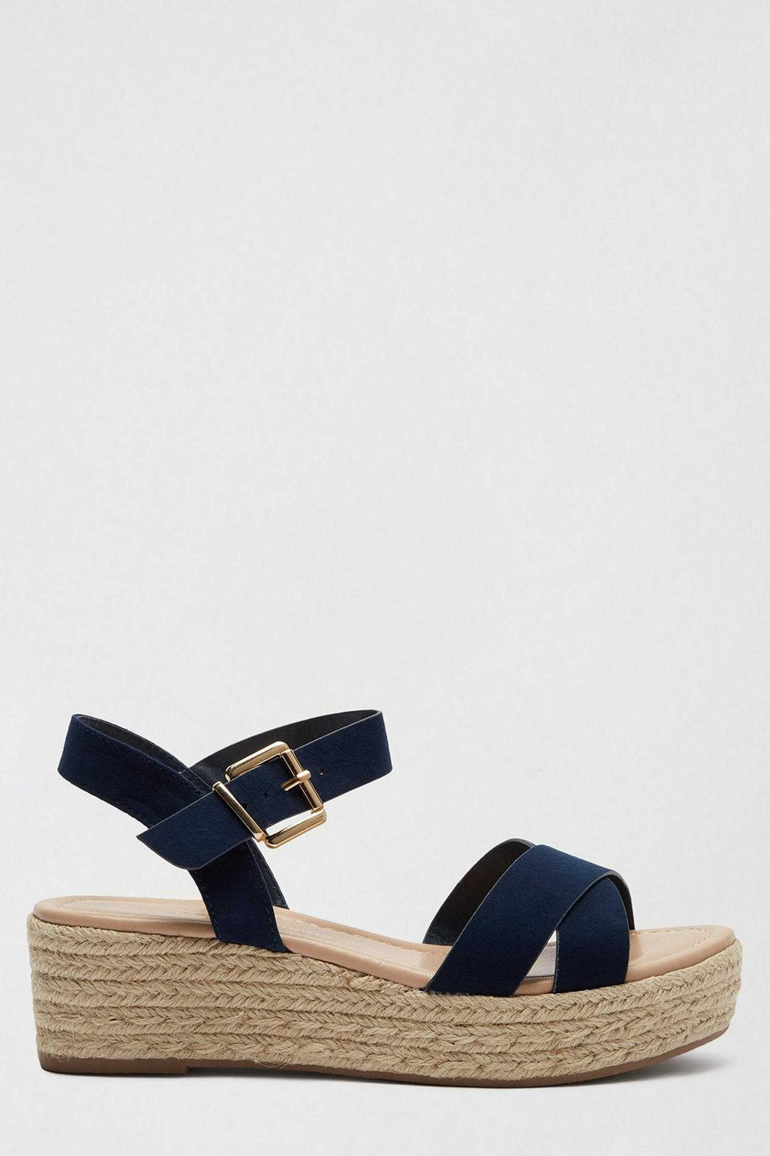 148 Wide Fit Navy Reenie Wedge Sandals image number 2