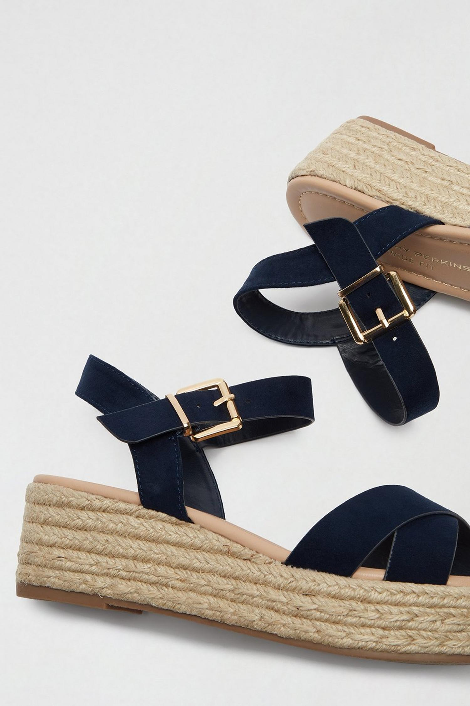 148 Wide Fit Navy Reenie Wedge Sandals image number 3
