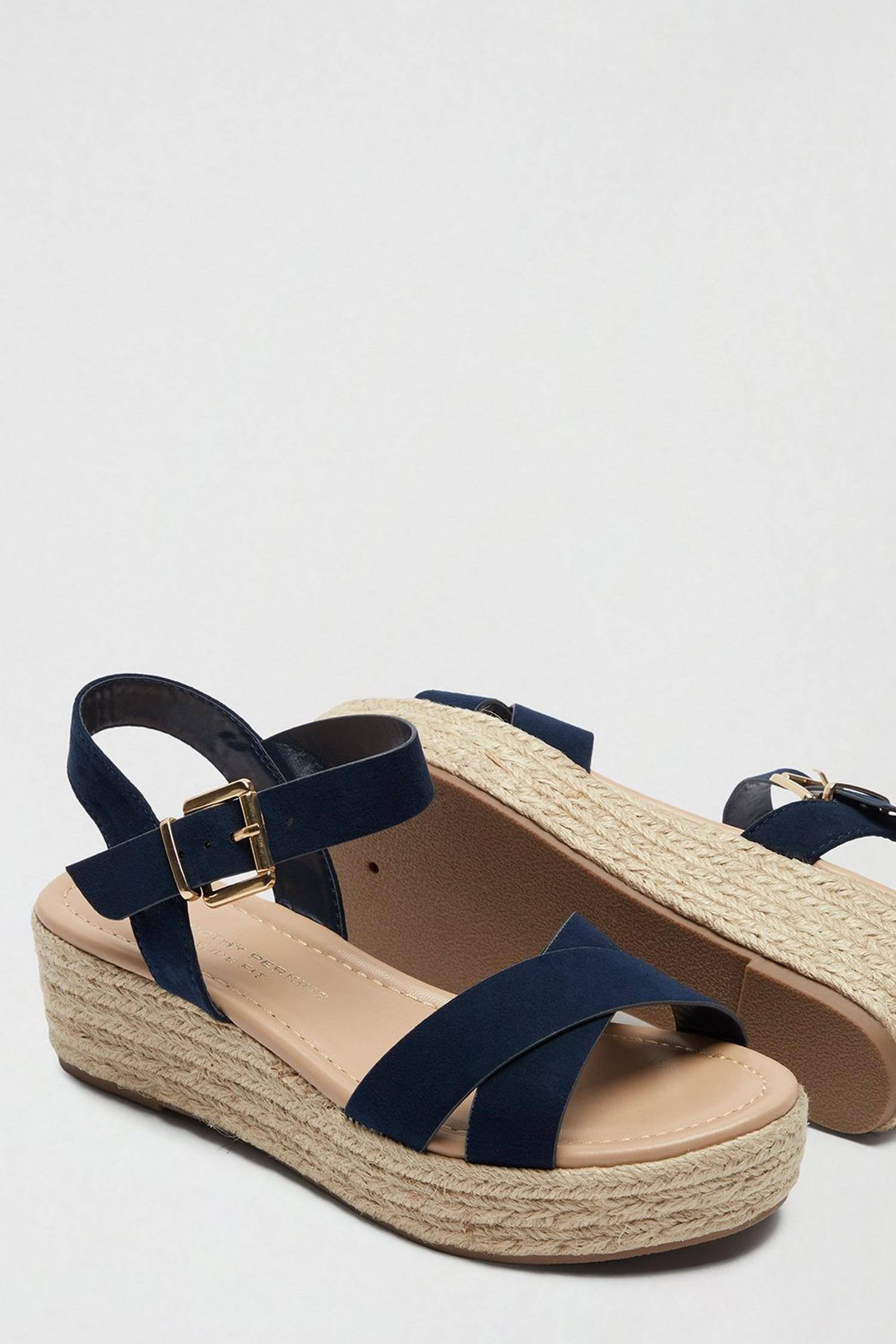 148 Wide Fit Navy Reenie Wedge Sandals image number 4