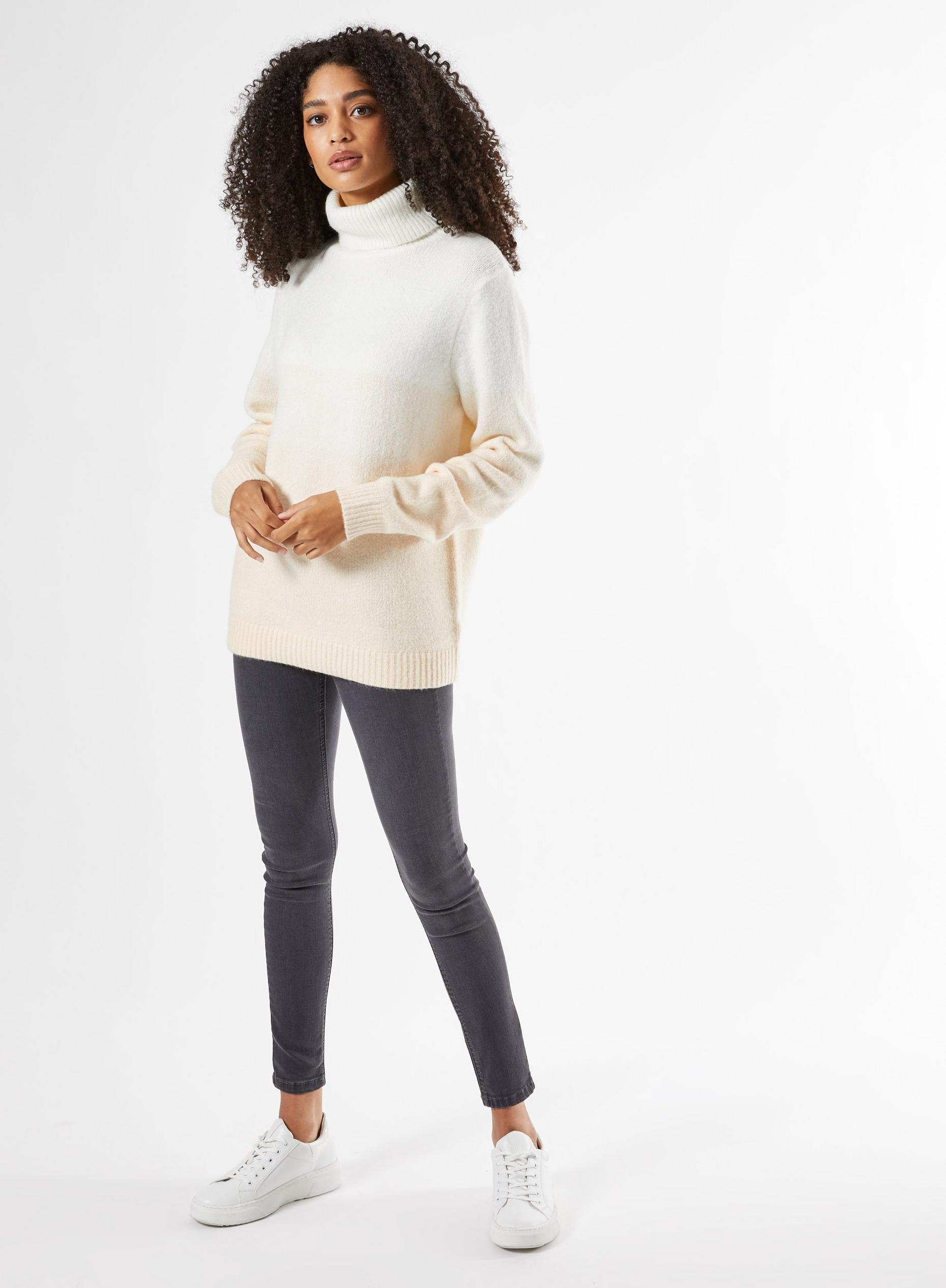 Ivory Colour Block Roll Neck Jumper