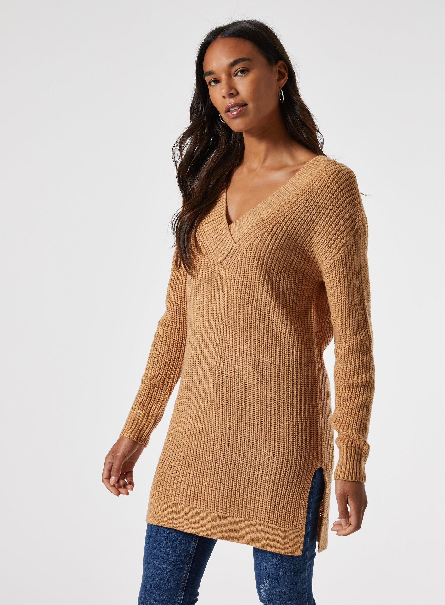 Camel V Neck Tunic