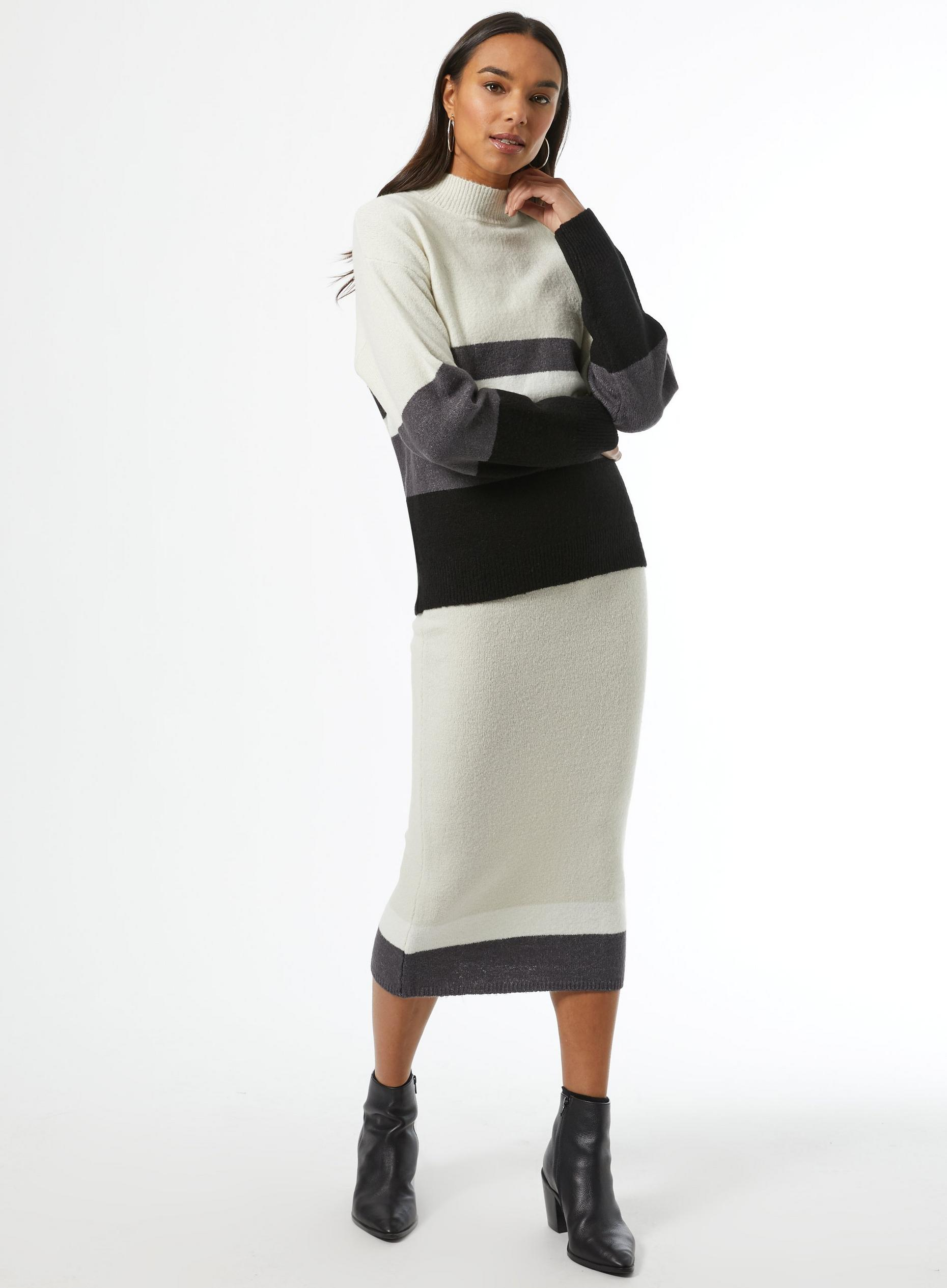 High Neck Colour Block Jumper