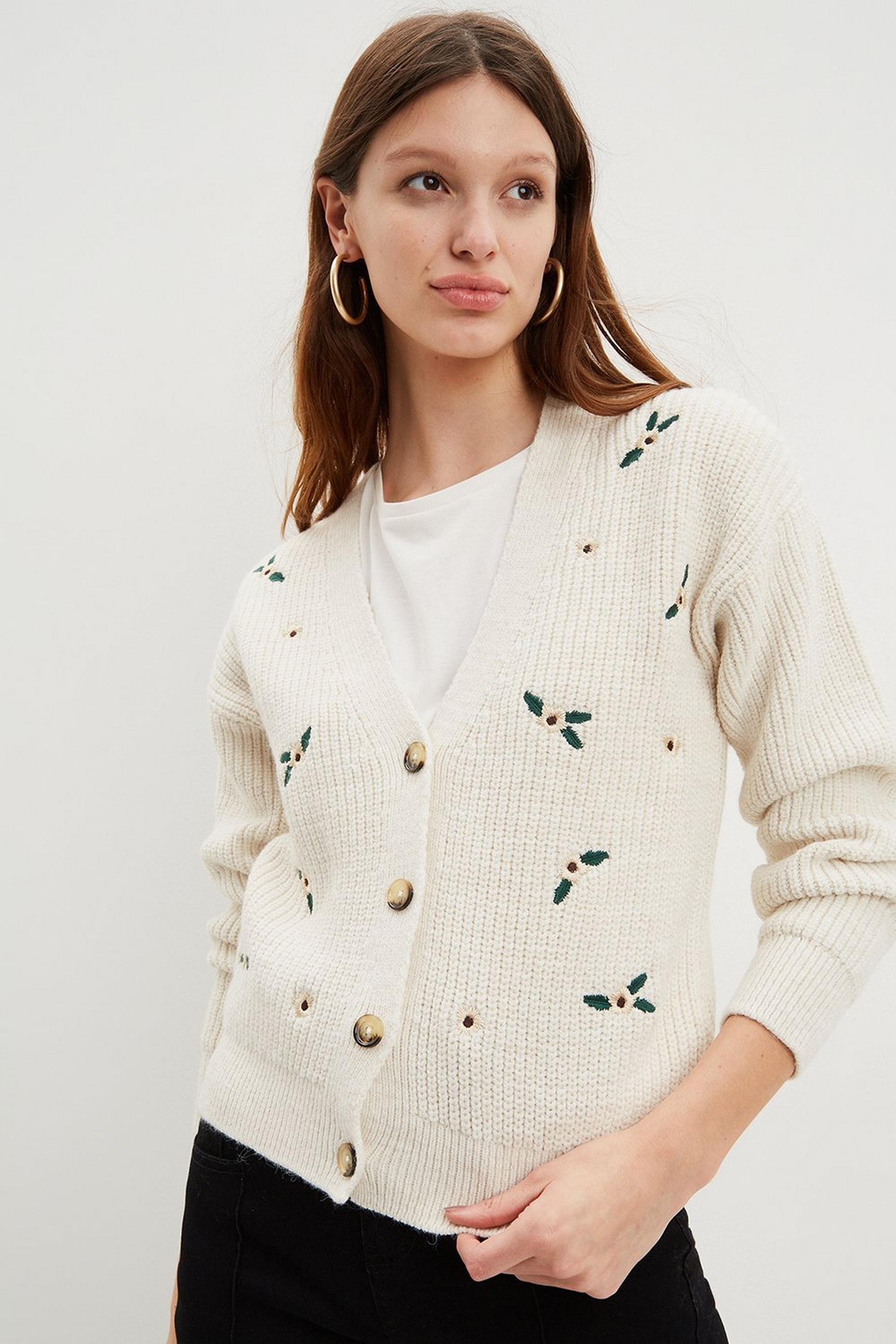 Cream Embroidered Knitted Cardigan